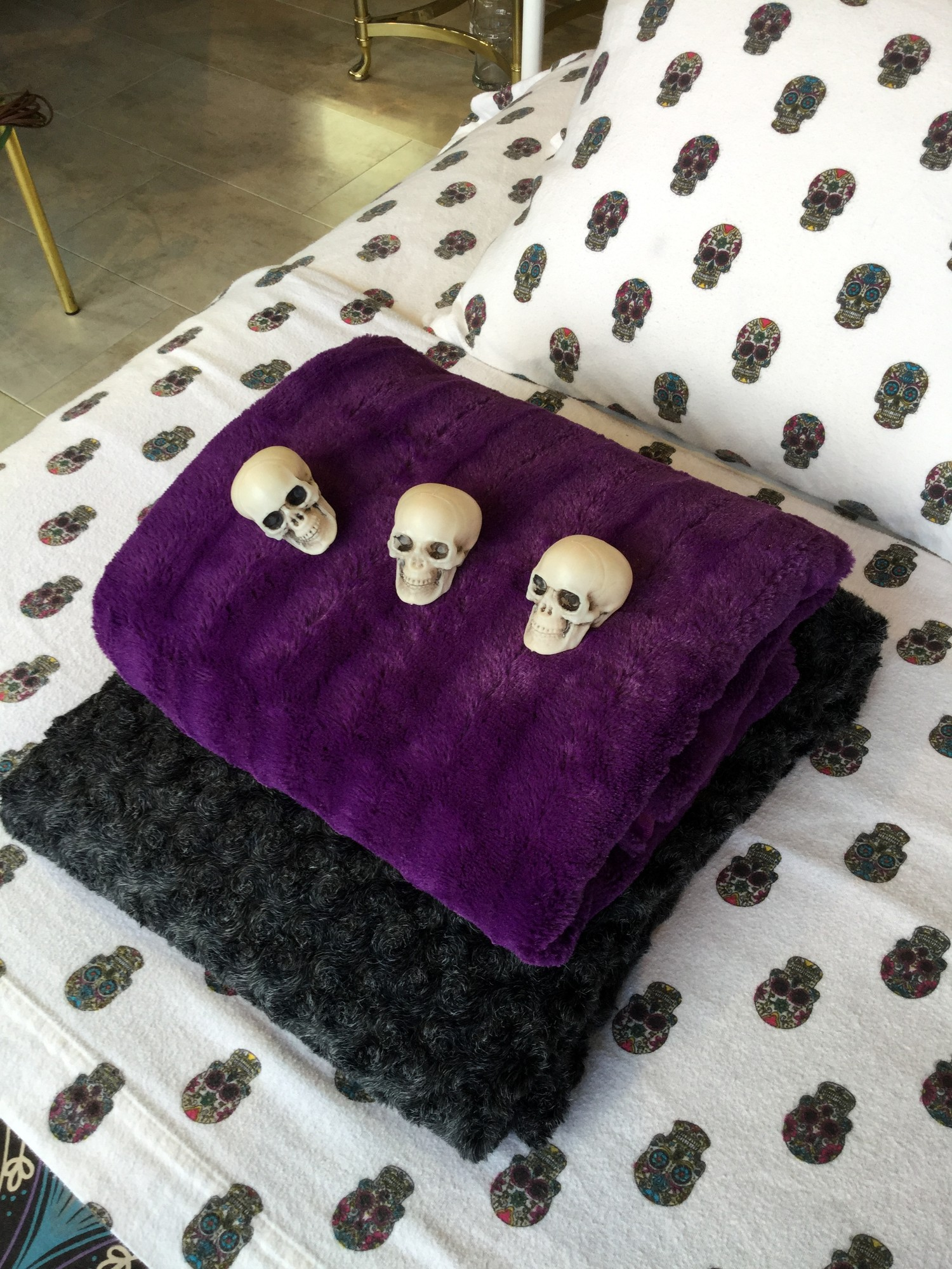 Faux Fur Throw, Purple, Size: None