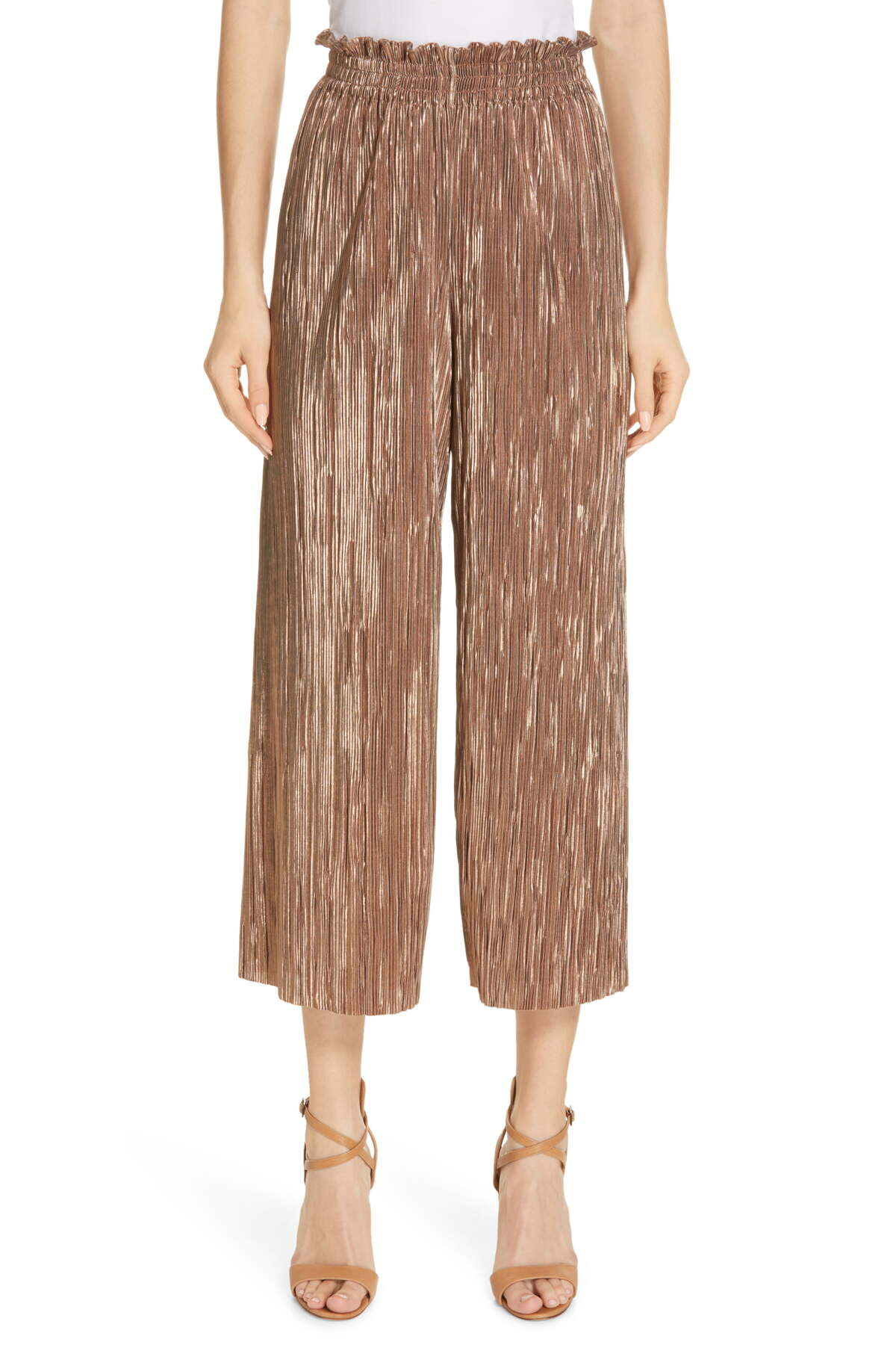 "Alice & Olivia Elba Paper Bag Pants, copper size XS, Orig. rtl: $225<br /> <br /> ""When quick-and-easy and chic-and-sophisticated are neck-and-neck as you contemplate what to wear, these cropped pants settle the score. Go with tucked-in to show off the paperbag waist, and rejoice in how well the striated metallic tone works with so many pairing options.<br /> - 23"" inseam; 26"" leg opening; 13"" front rise; 17 1/2"" back rise (size Medium)<br /> - Pull-on style with smocked waist<br /> - 100% polyester<br /> - Dry clean""<br /> <br /> Photo and description credits: shopbop.com"