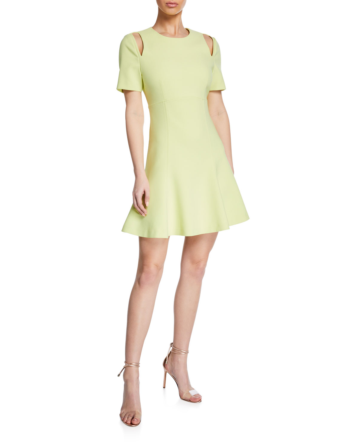 "Cinq a Sept NWT Alyssa Crewneck Short-Sleeve Cutout Dress, size 4, orig. rtl: $395<br /> <br /> ""cinq a sept ""Alyssa"" dress with shoulder cutouts.<br /> Crew neckline.<br /> Short sleeves; cutouts.<br /> Fit-and-flare silhouette.<br /> Mini length.<br /> Straight hem.<br /> Hidden back zip.<br /> Polyester/viscose/spandex.""<br /> <br /> PHoto and description credits: neimanmarcus.com"