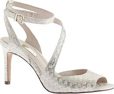 Louis et Cie snake skin heels, kealy in ivory startlight gold.  Size 9 new, never worn in box.