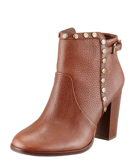 tory burch EUC Mae Studded Ankle Booties, Cognac, Size: 8