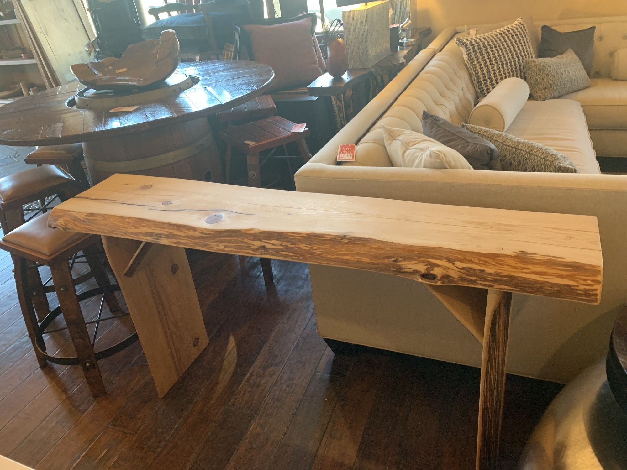 "Beautiful Handmade Cedar Console-Elegant and Rustic,  Local Artist Size: 59""Wx 14""D x 32""H"