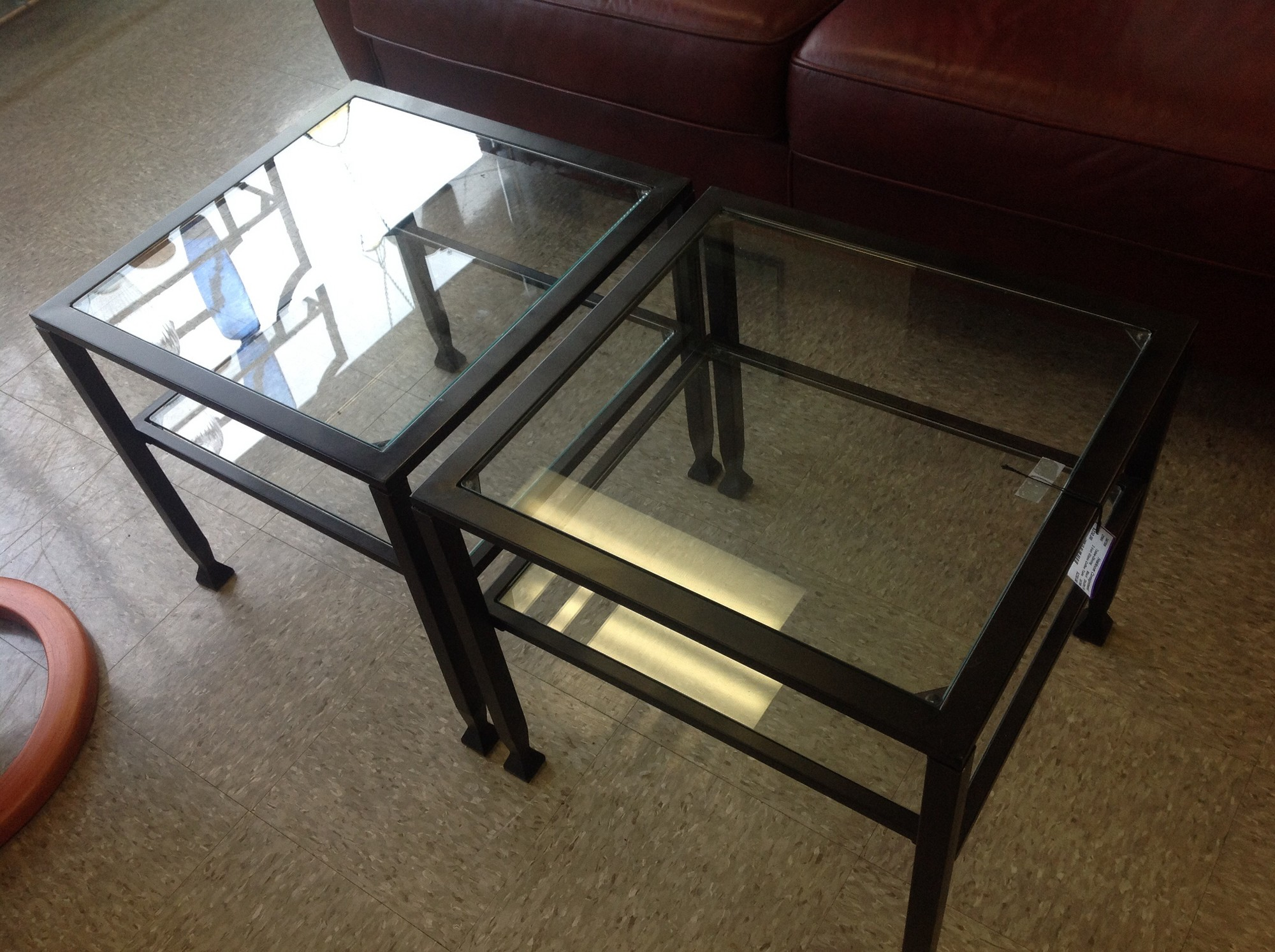 2 Iron Glass Coffee Table, Black, Size: 20x20x18