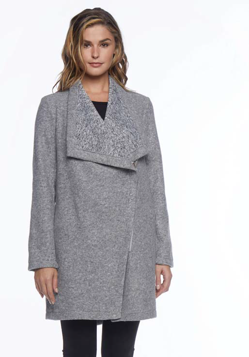 "BB Dakota Maggie Brushed Fleece Drape Collar Coat, NWT, orig. rtl: $109<br /> <br /> ""    The Maggie coat carries an easy-going character that embraces you with warmth and style this season.<br />     - Oversized lapel<br />     - Front zip closure<br />     - Long sleeves<br />     - Marled knit lining<br />     - 2 pockets<br />     - Hidden drawstring waist<br />     - Approx. 32"" length (size S)<br />     - Imported<br /> Fiber Content<br />     100% polyester<br /> Care<br />     Hand Wash Cold""<br /> <br /> Photo and description credits: nordstromrack.com"