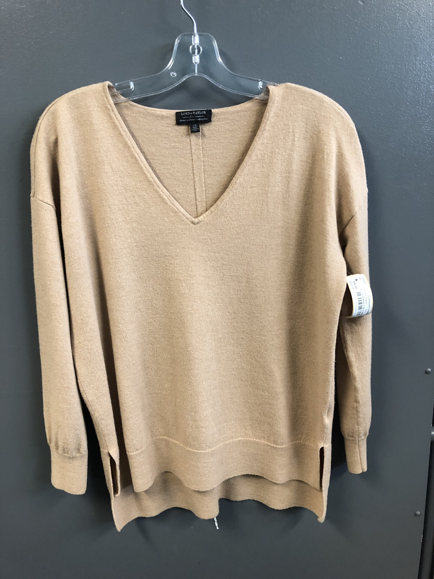 Ls Cashmere V Nck Sweater, Tan, Size: Large