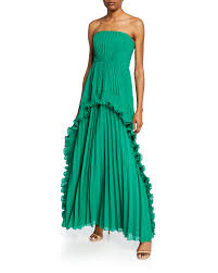 Halston Heritage Strapless Pleated Gown with Ruffles size 14, NWT, orig. rtl: $645