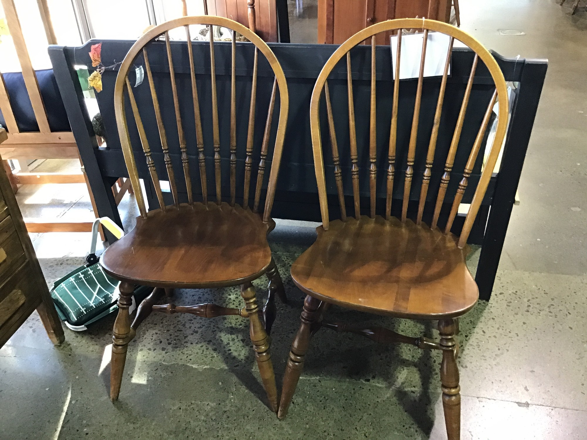 "These wooden dining chairs by Ethan Allen have a rounded back and would make a great addition to any kitchen or dining space. They are sturdy and quite comfortable!<br /> Chair measurements are 18"" x 18"" x 38"""