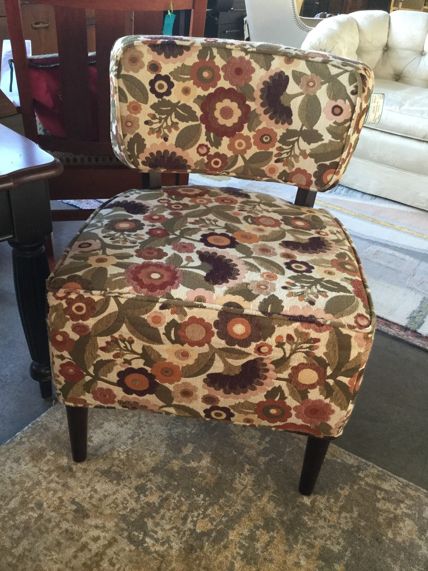 "Mid Century Armless Chair, Flowers, Size: 31""x23""x23"""