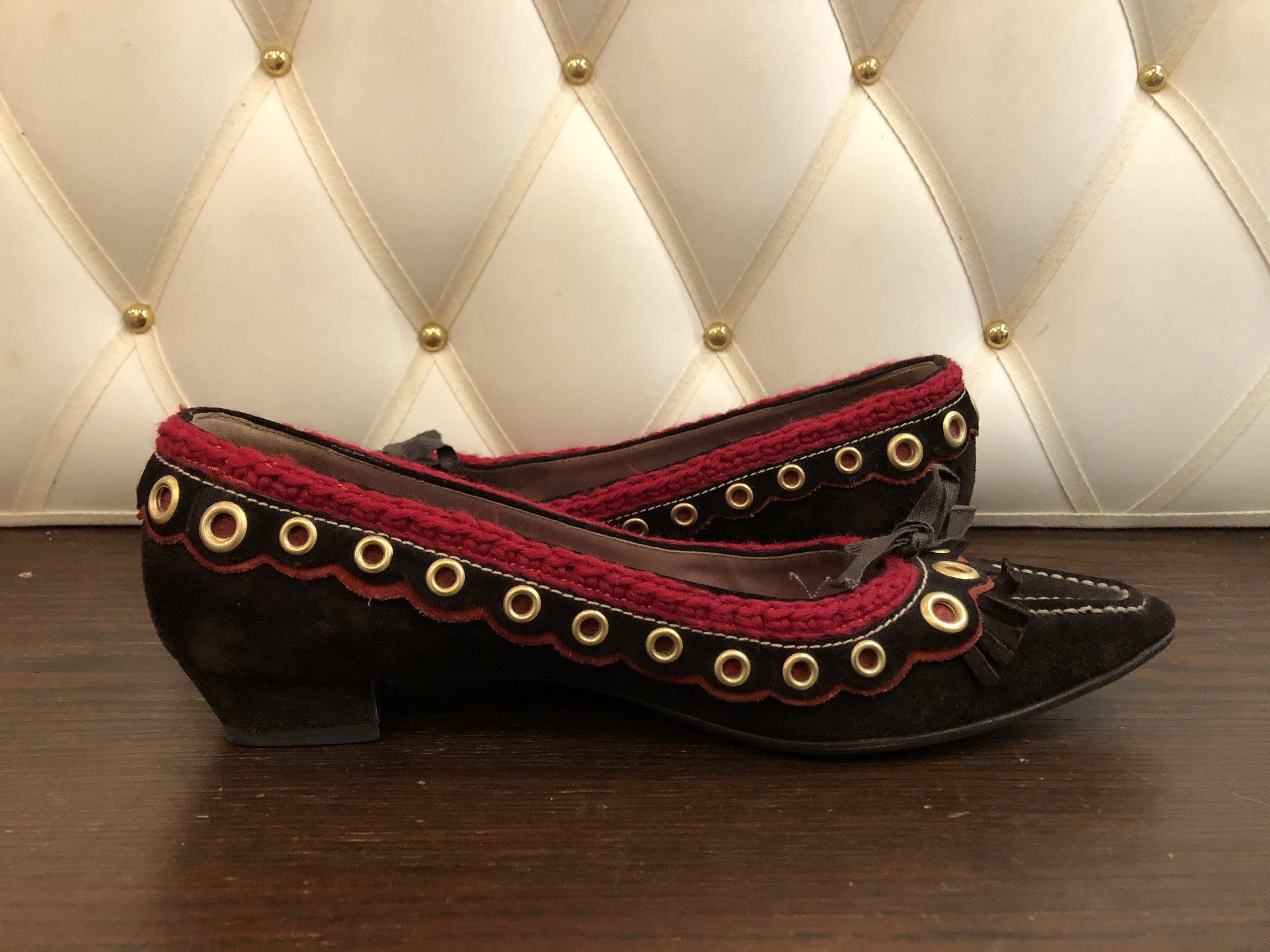 Miu Miu Suede Flats, Brown, Size: 40.5<br /> brown with red suede trim. bottoms have been resoled.<br /> About a 10.5