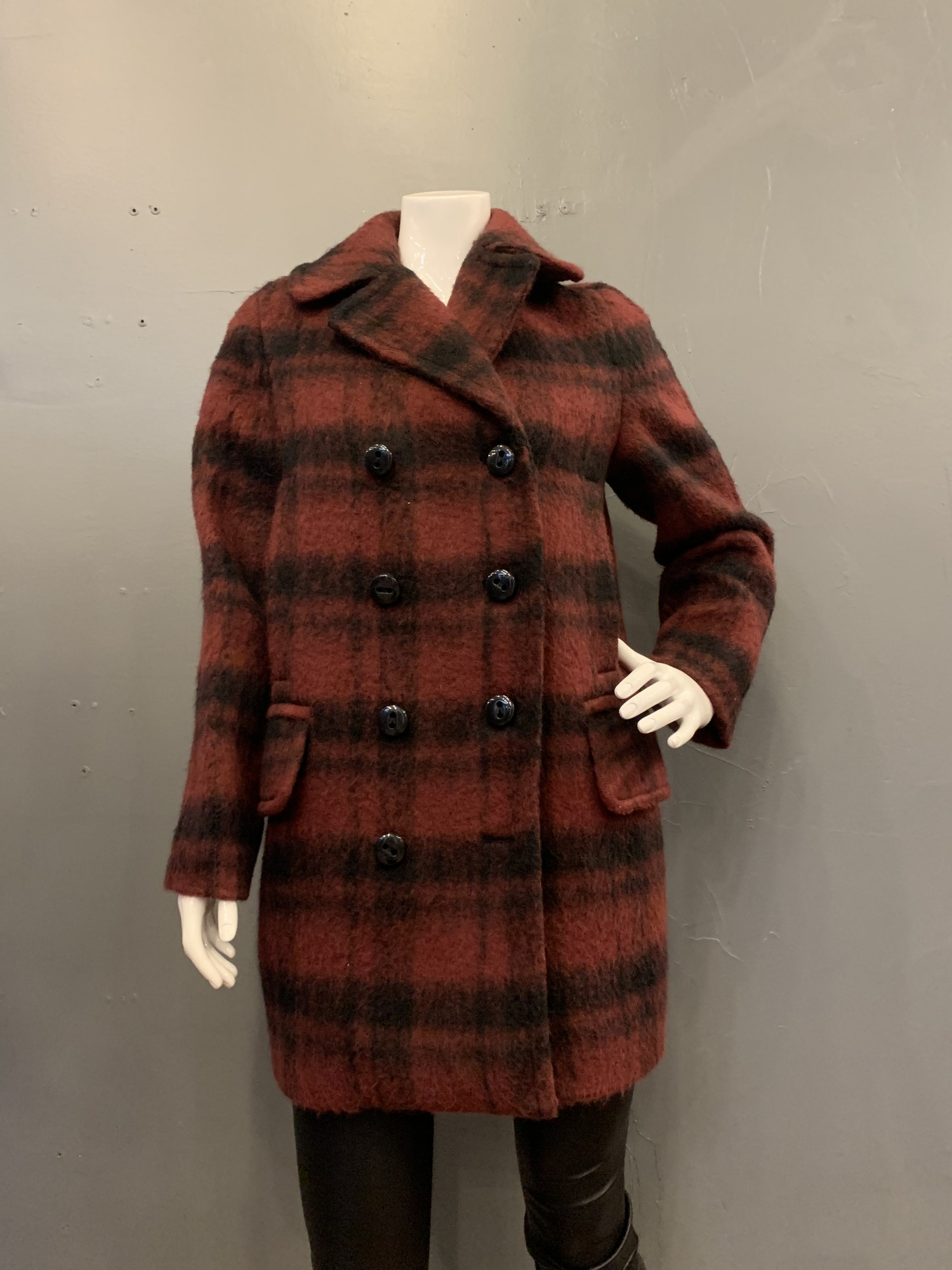 Coach plaid long peacoat, Red/blk, Size: XS<br /> new with tags retail cost $675.00<br /> 57% acrylic<br /> 35% wool<br /> 8% alpaca