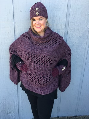 "Beth looks amazing in this Simply Noelle Poncho. It is the perfect item to get your fall wardrobe started. It will go perfect over your favorite outfit. Soft, Heathered, Open Weave, Chenille, Cowl Neck, Side Slits for Arms, Ribbing Along Hemline. 27""L x 55""W. 100% Polyester"