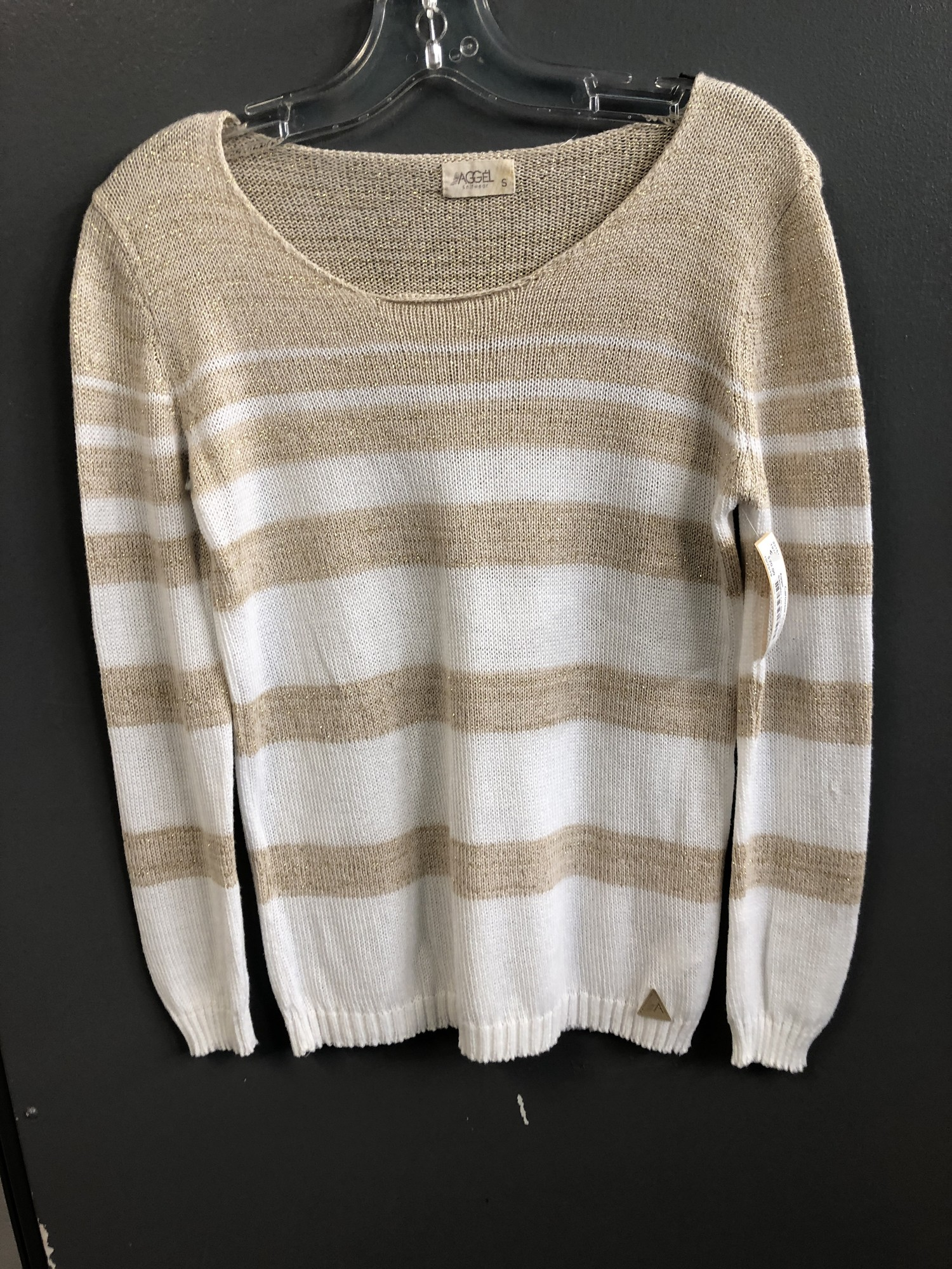 Sweater L/s Striped, Ivry/gol, Size: Small