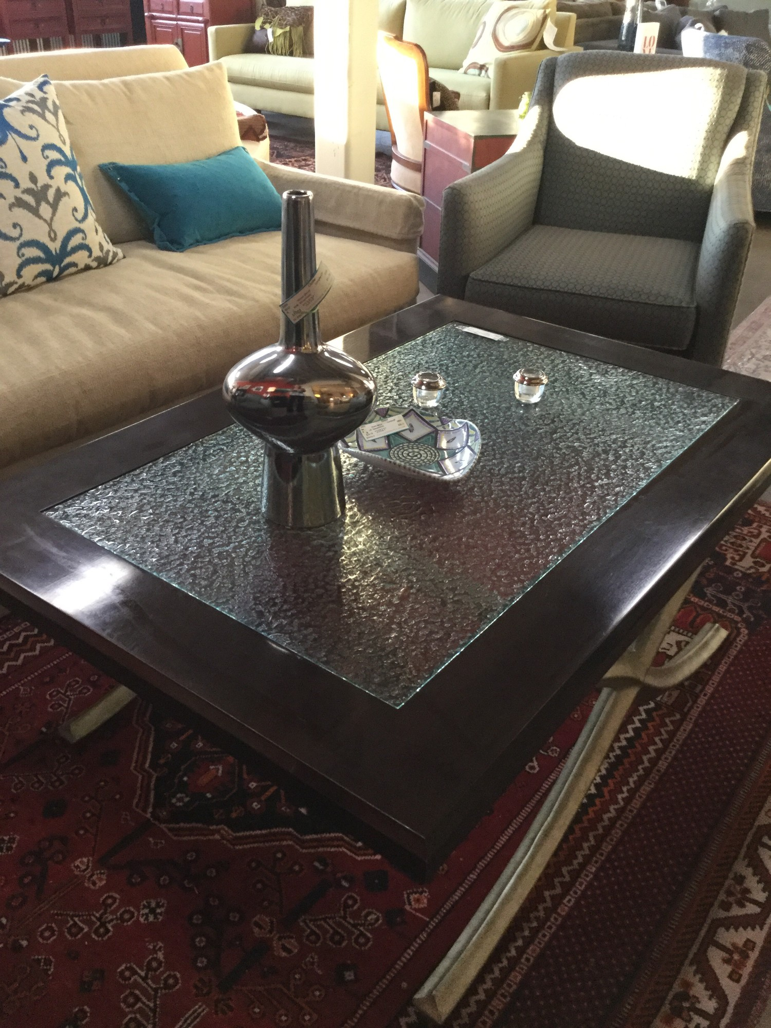 "Century Coffee Table, Seeded Glass, Wood Frame, Silver Metal Legs, Size: 50""X34""X19"""