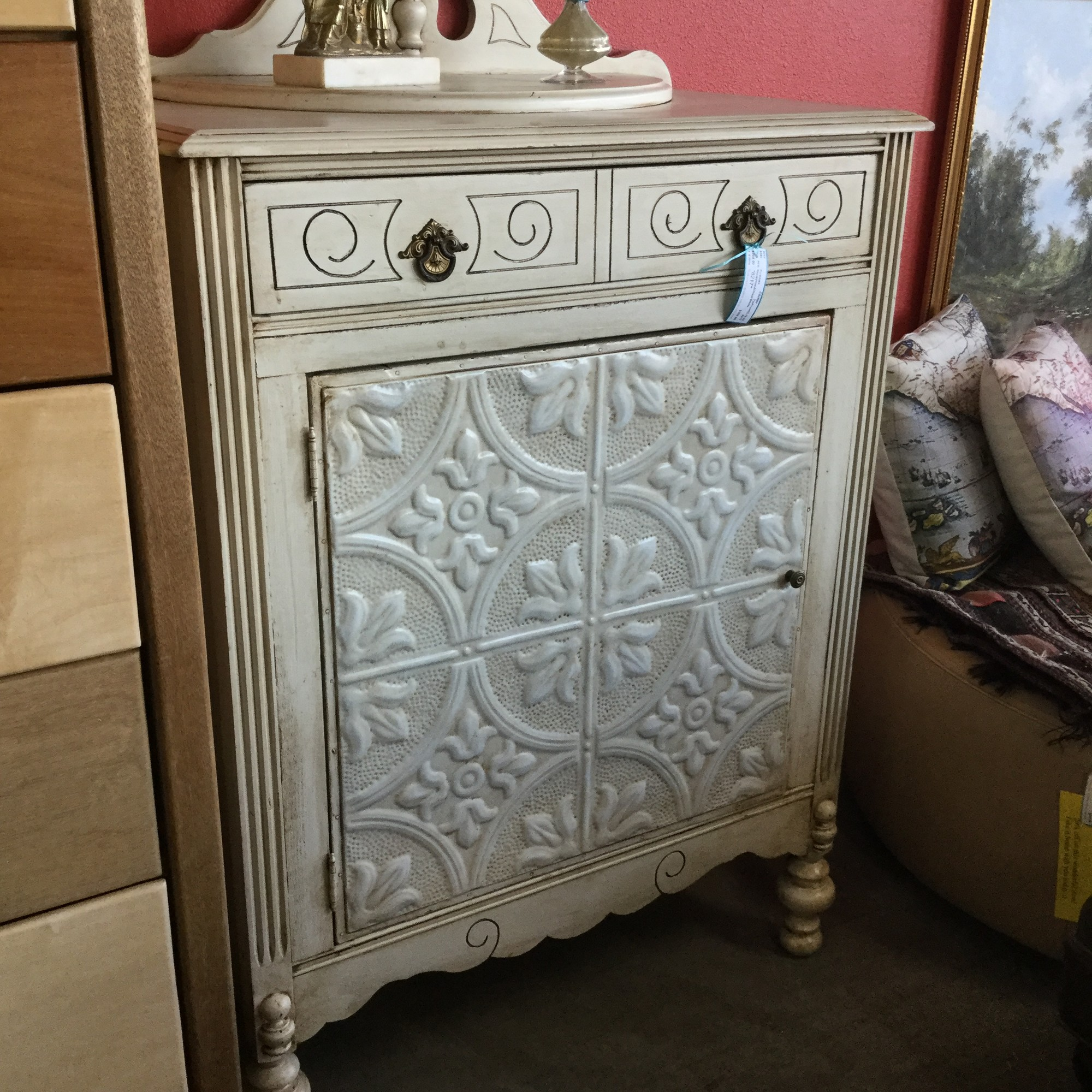 "Repurposed Chest, White, Tin Front, Size: 32""X18""X43"""