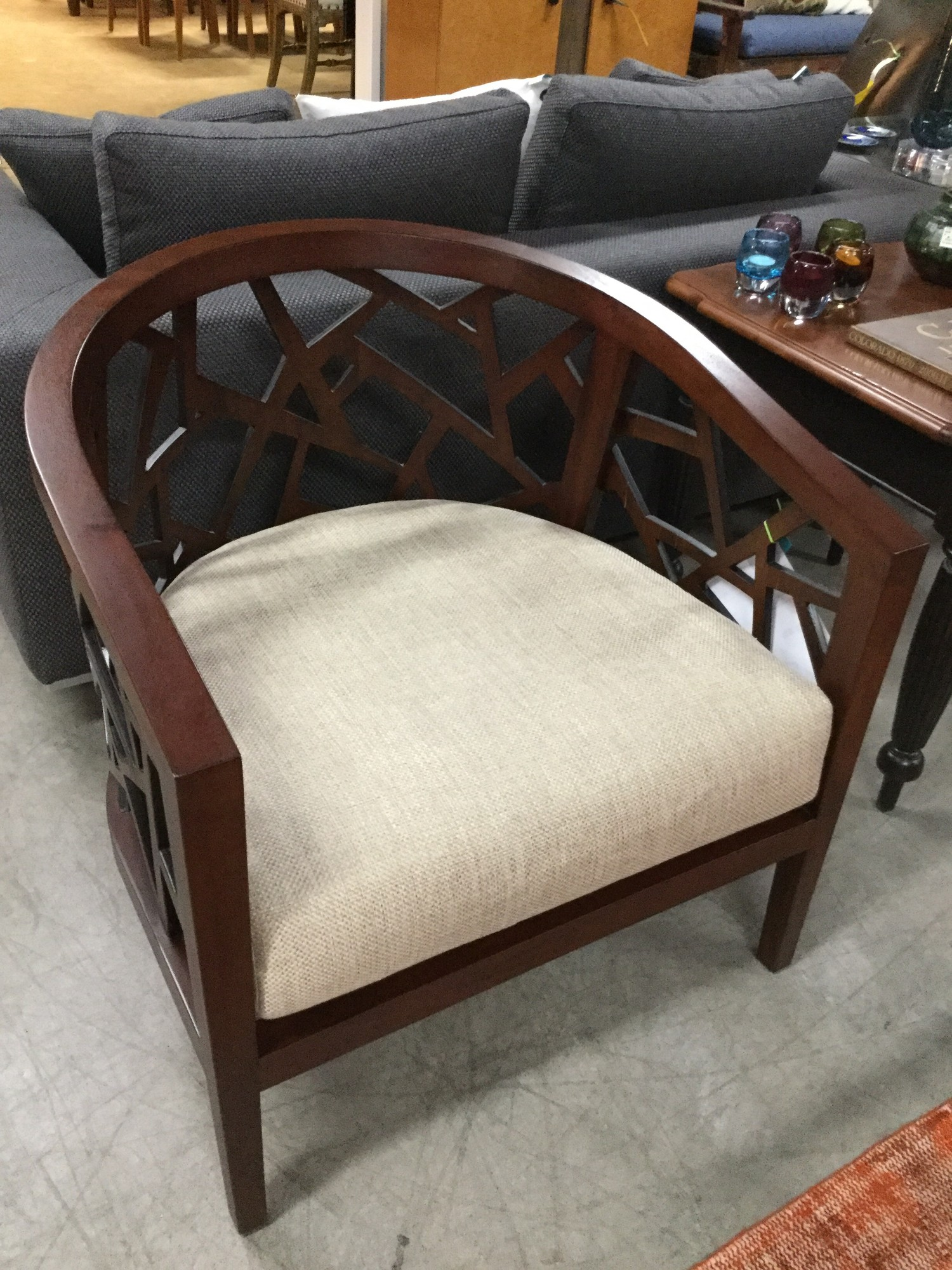 "Crate & Barrel Wood Frame Chair with Cushion, 29.5"" x 29"""
