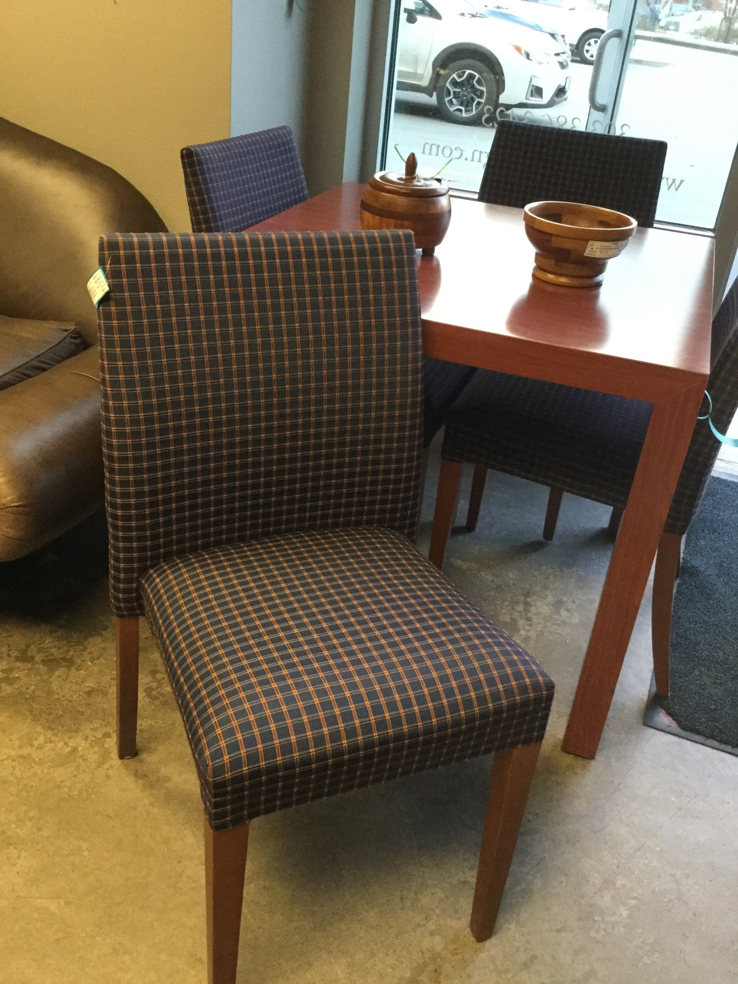 Upholstered Dining Chairs, 4 Pieces, Blue & Gold Checked