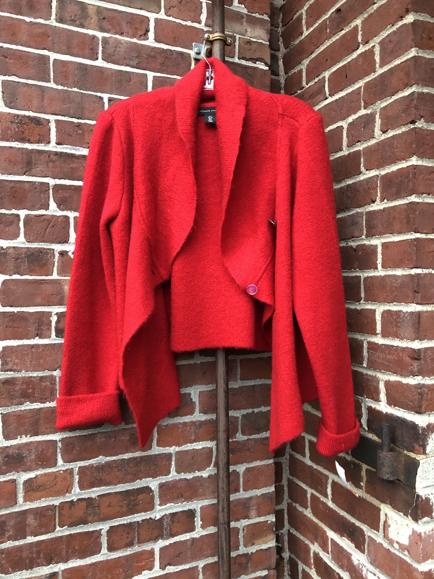Adrienne Vittadini Cardig, Red, Size: Large