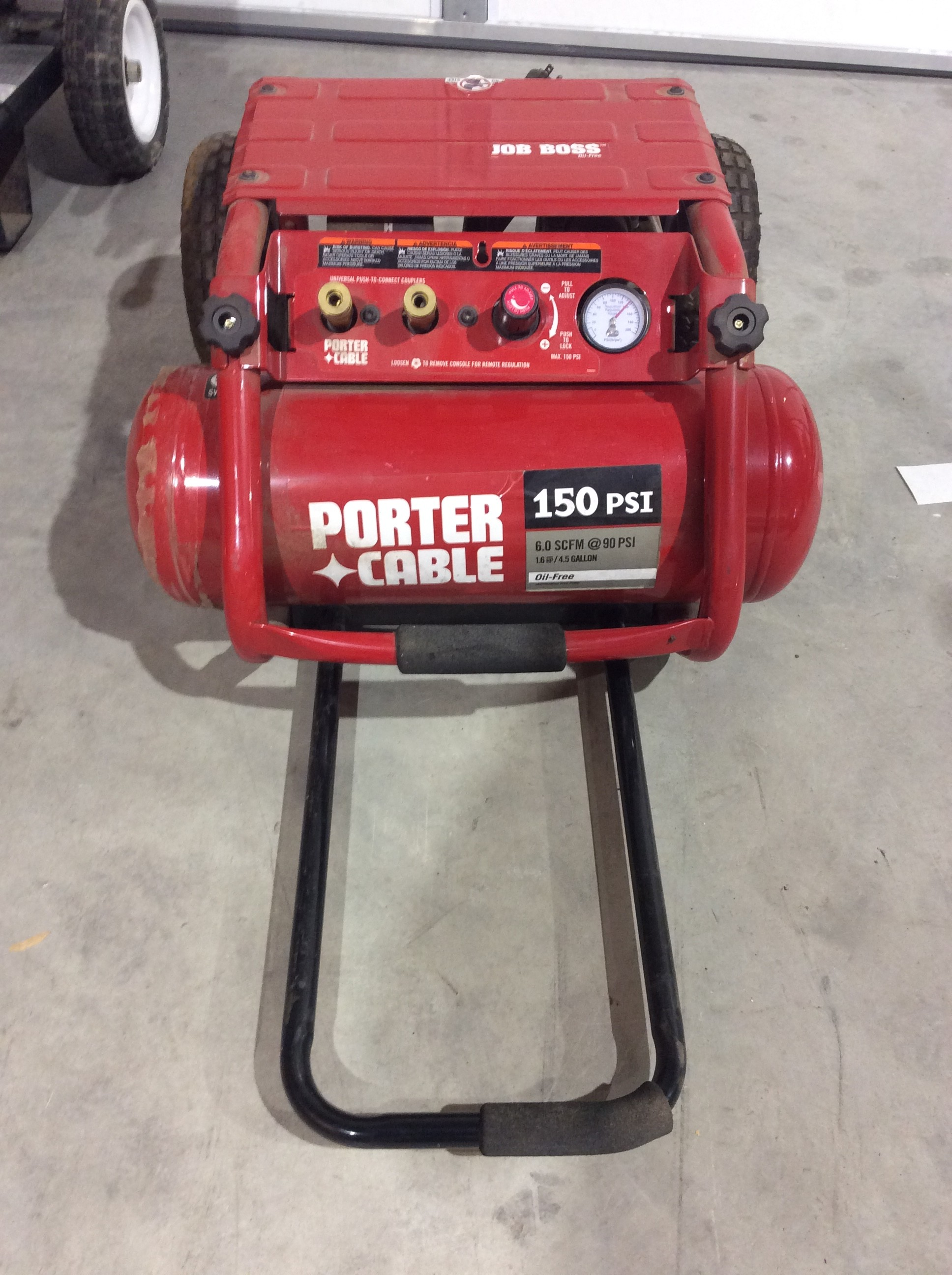 PORTER CABLE C3151JOB BOSS OIL FREE TWIN TANK AIR COMPRESSOR.
