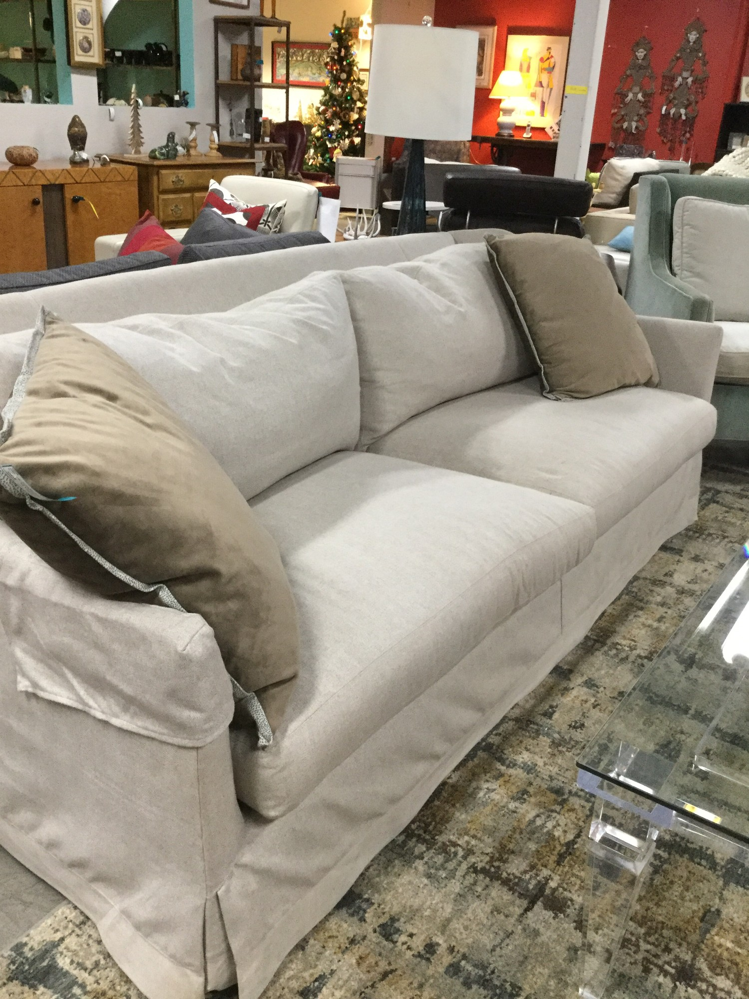 Lee Beige Sofa, Down Wrap, 2 Available, Size: 86""