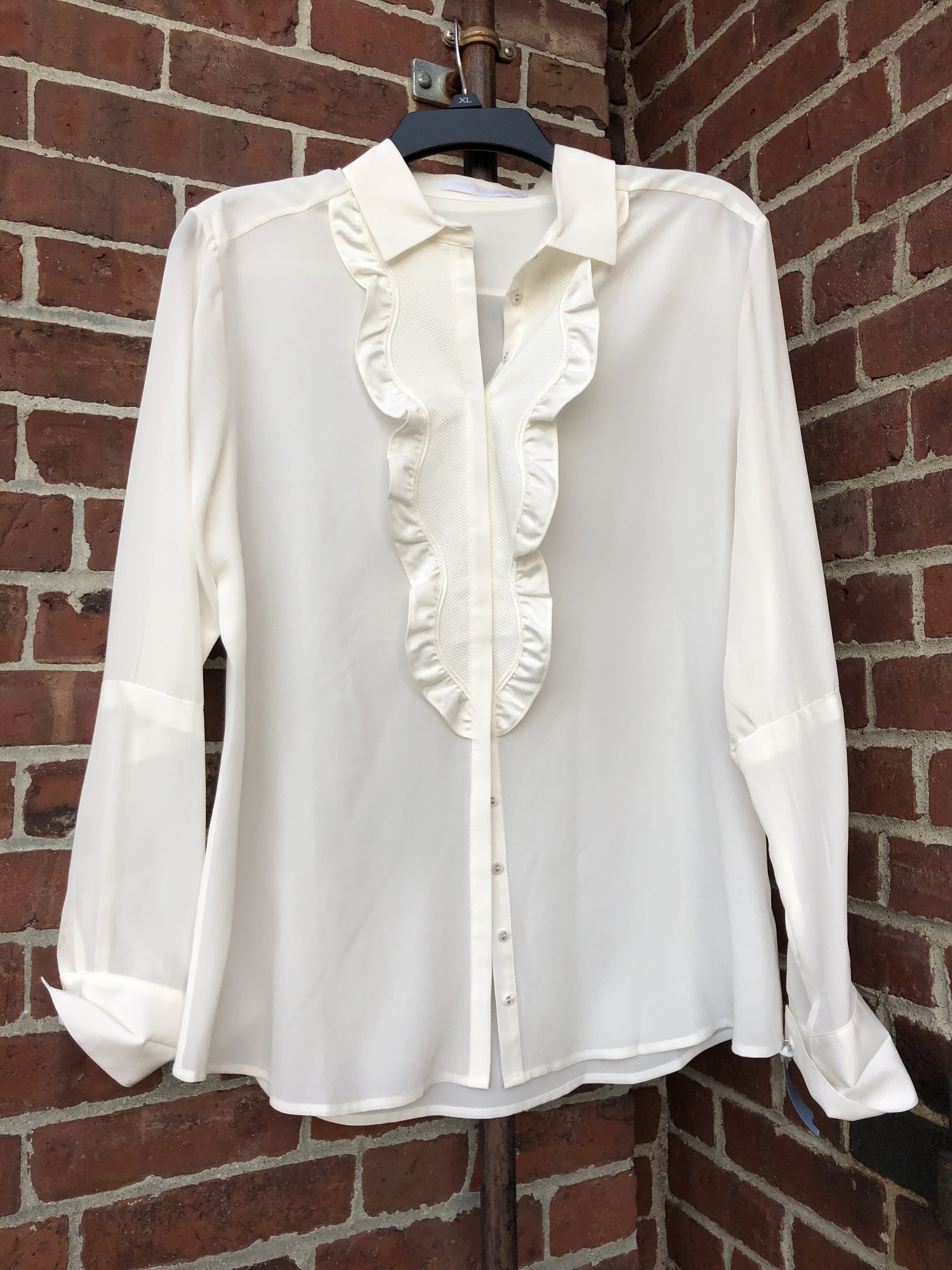 "Anne Fontaine Silk Blouse, White, Size: 42<br /> 42"" bust"