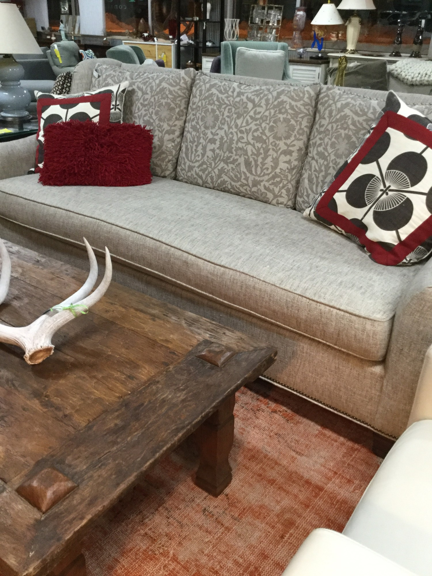 "Custom Hickory Chair Sofa, Taupe, Size: 88""X37""X40"""