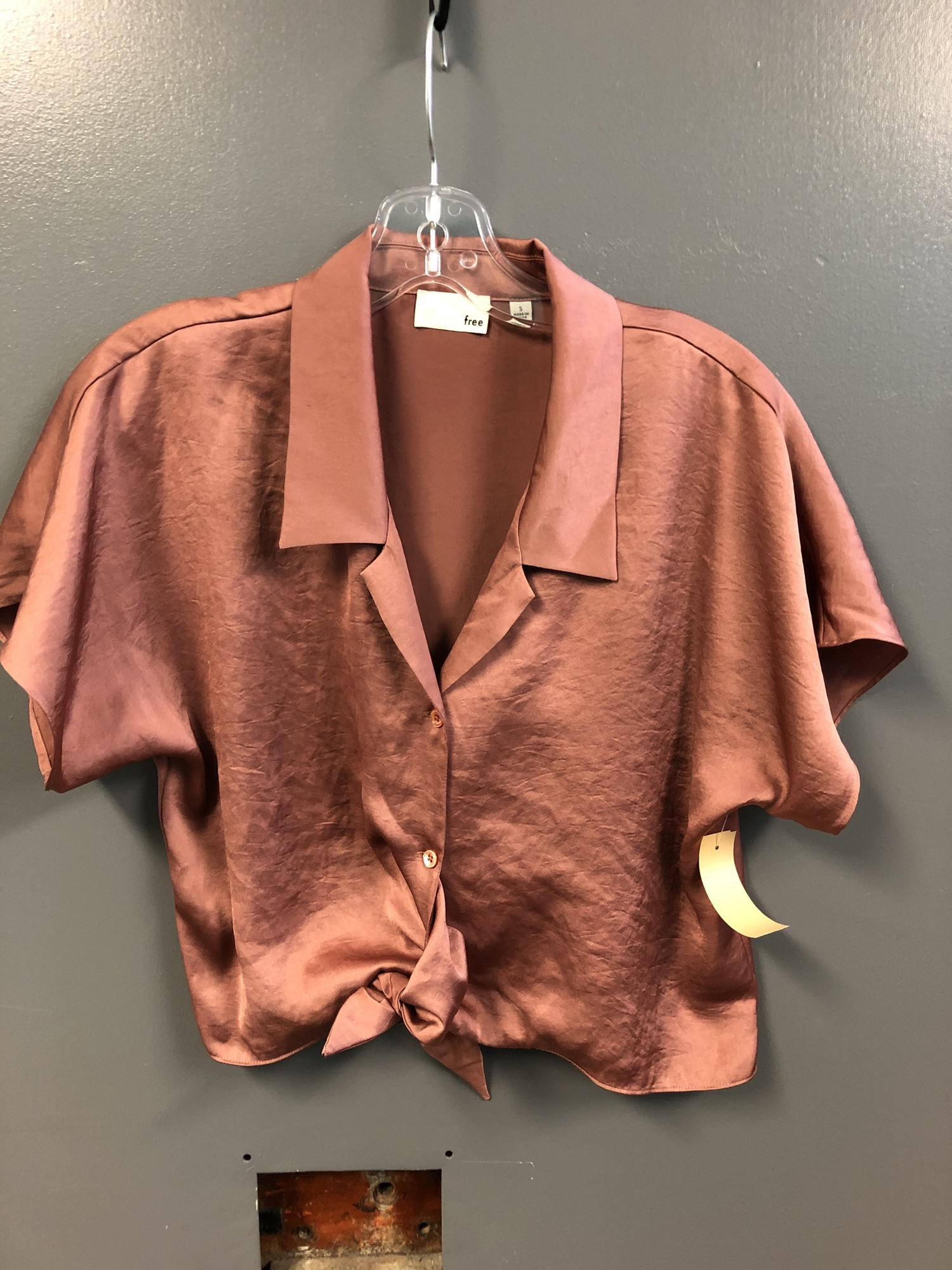 Ss Crop Btn Up Blouse, Rust, Size: Small