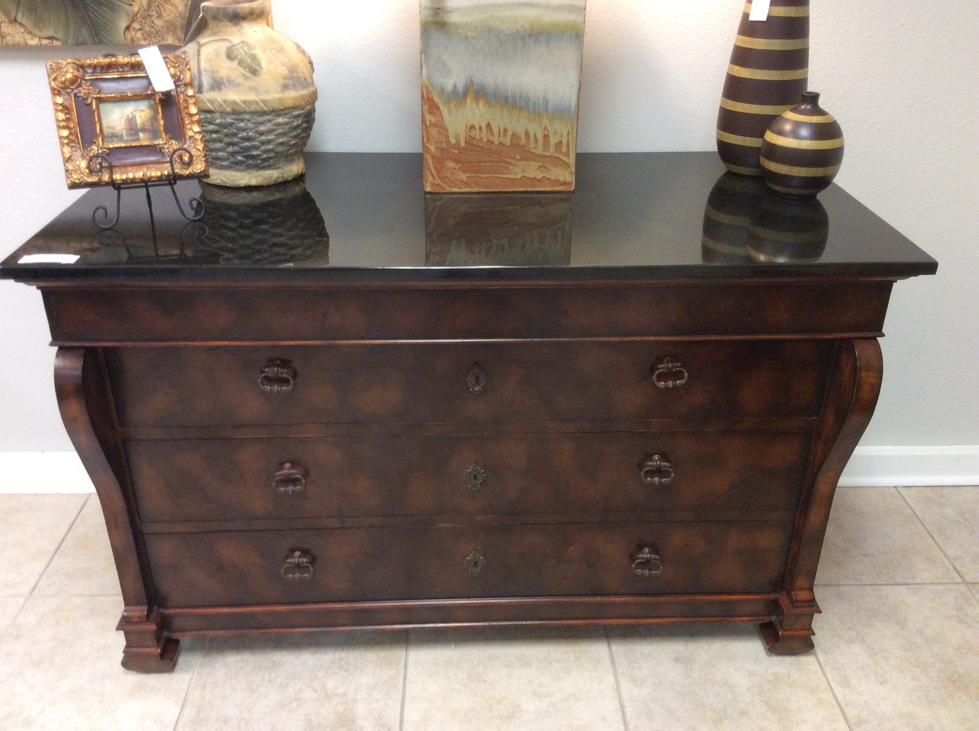 "This is a stunning MAITLAND SMITH chest. It features solid wood construction with a burled walnut finish. There are 3 very roomy drawers, as well as a ""hidden"" drawer for your valuables. The top is pieced black granite. Gorgeous!"