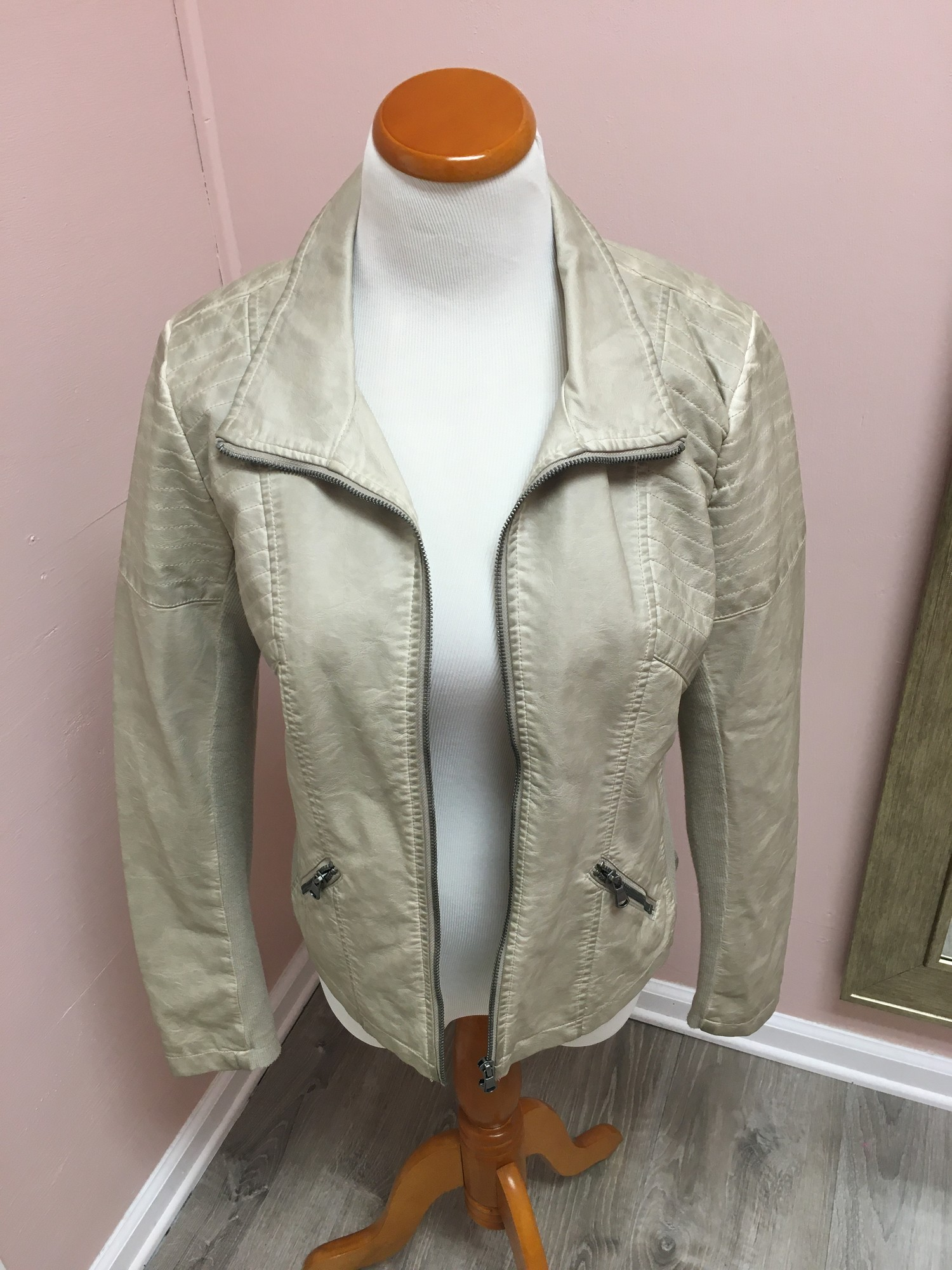 Faux Leather Jacket, New With Tags!  Tan, Size: Large