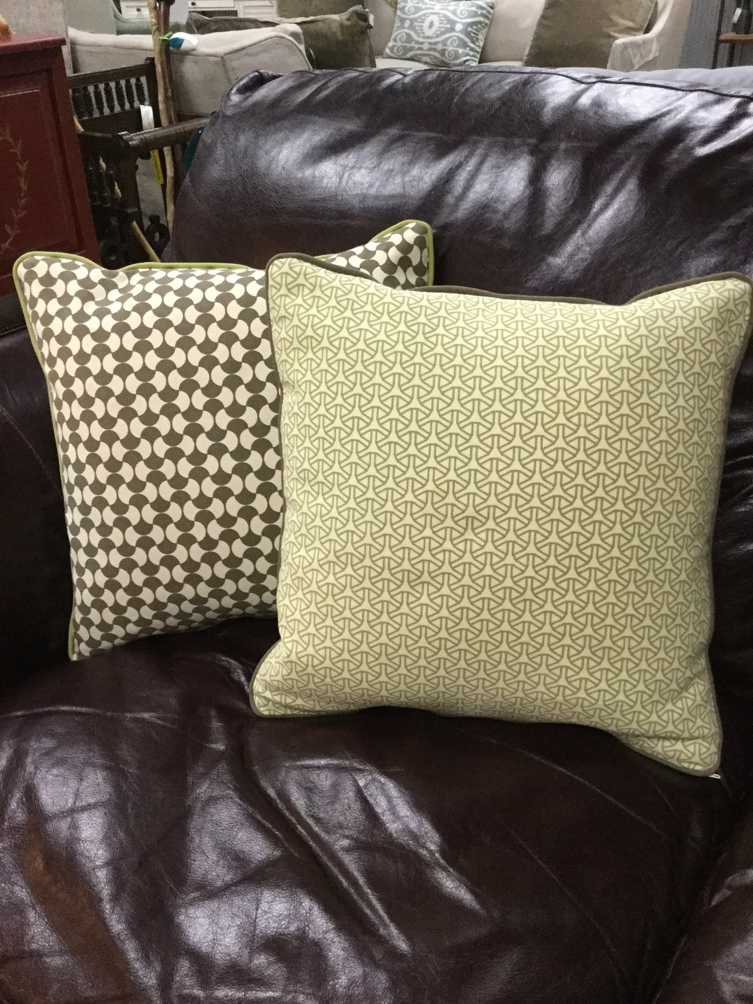 "Jonathan Adler Pillow, Lime & Brown, Size: 15""X15"""