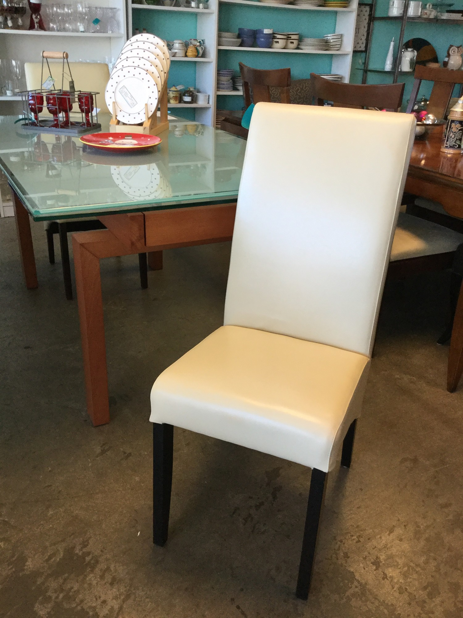 "White Faux Leather Chairs, Set of 2, Size: 17""X20""X40"""