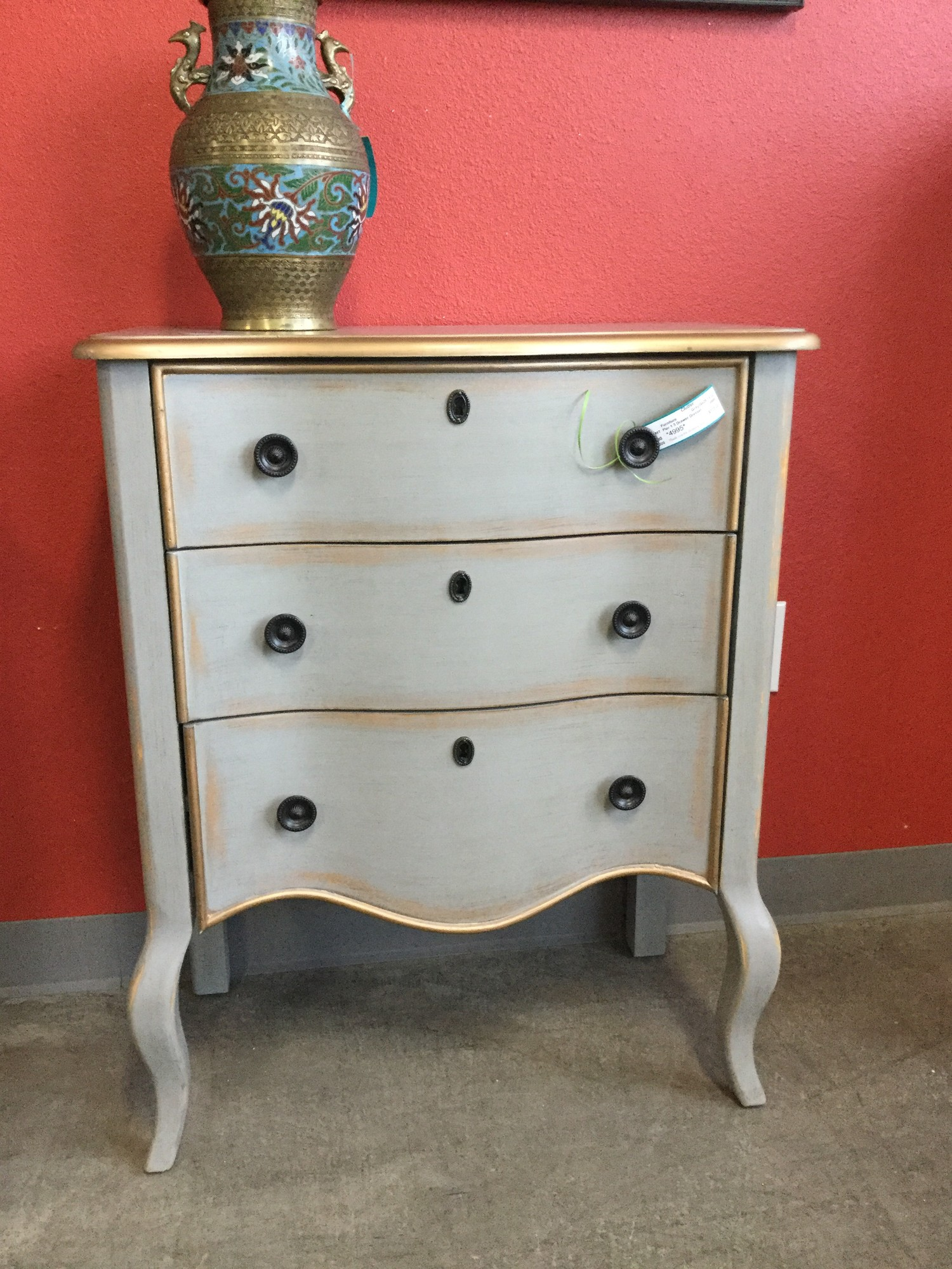 "Pier 1, 3 Drawer Dresser, Gray with Gold Trim, Size: 26""X14""X32"""