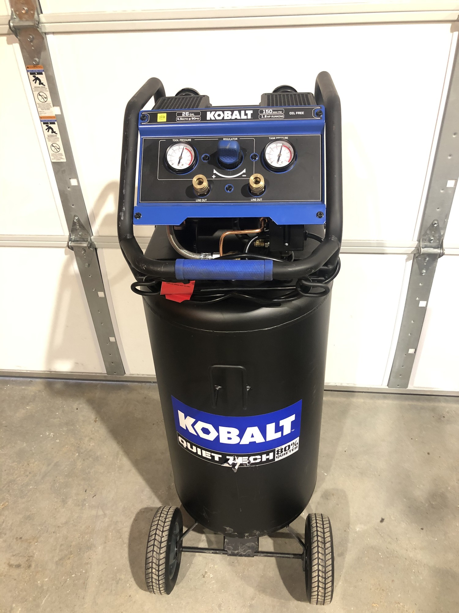 Kobalt QUIET TECH 26-Gallon 150-PSI Single Stage Portable Electric Vertical Air Compressor
