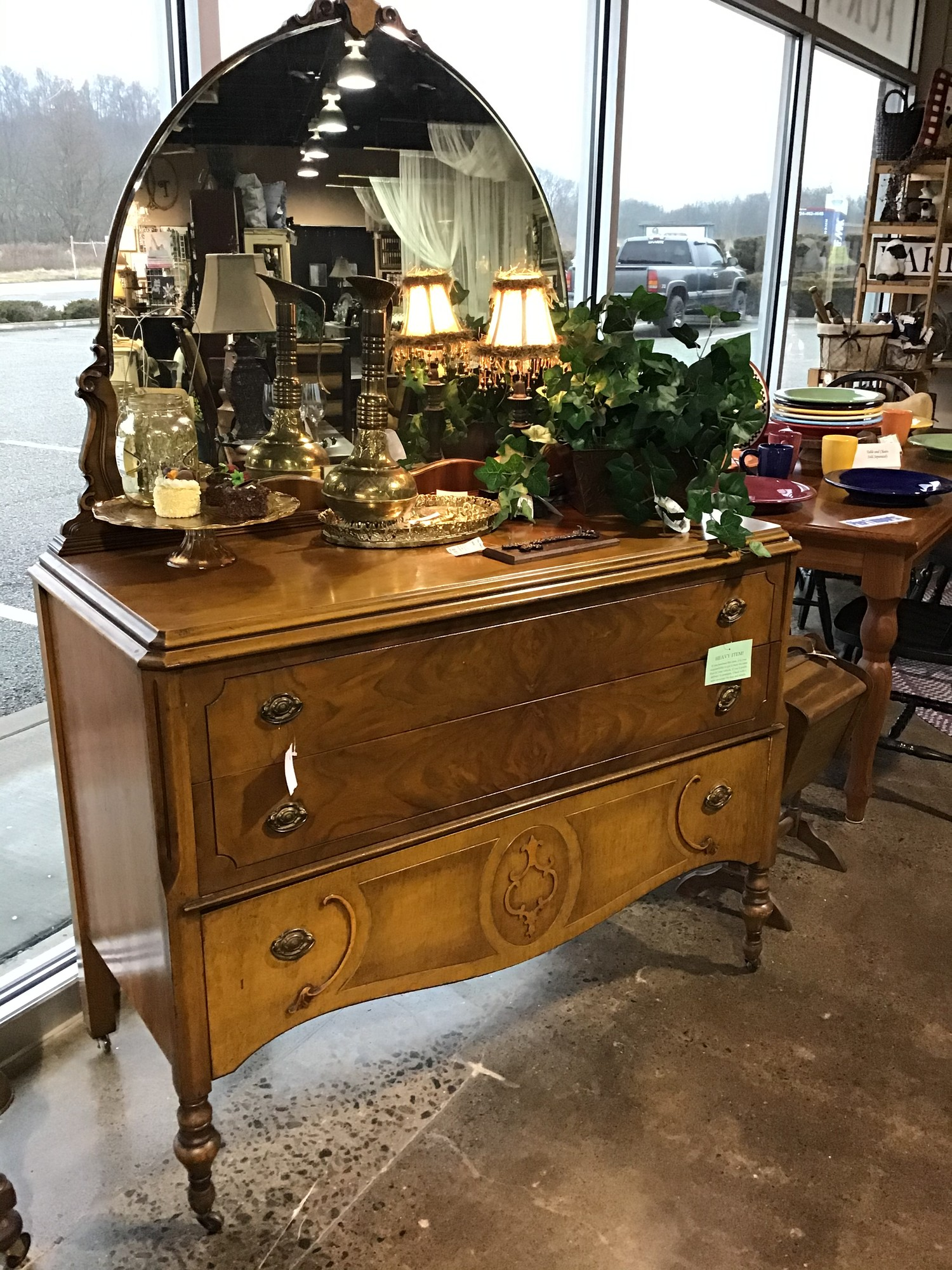 "This piece is SO beautiful! It is an antique Victorian dresser on casters with 5 large drawers. Perfect addition with or without the matching dresser/mirror (#7430). This would be a great statement piece in any room!<br /> Dimensions are 35"" x 19"" x 50"""