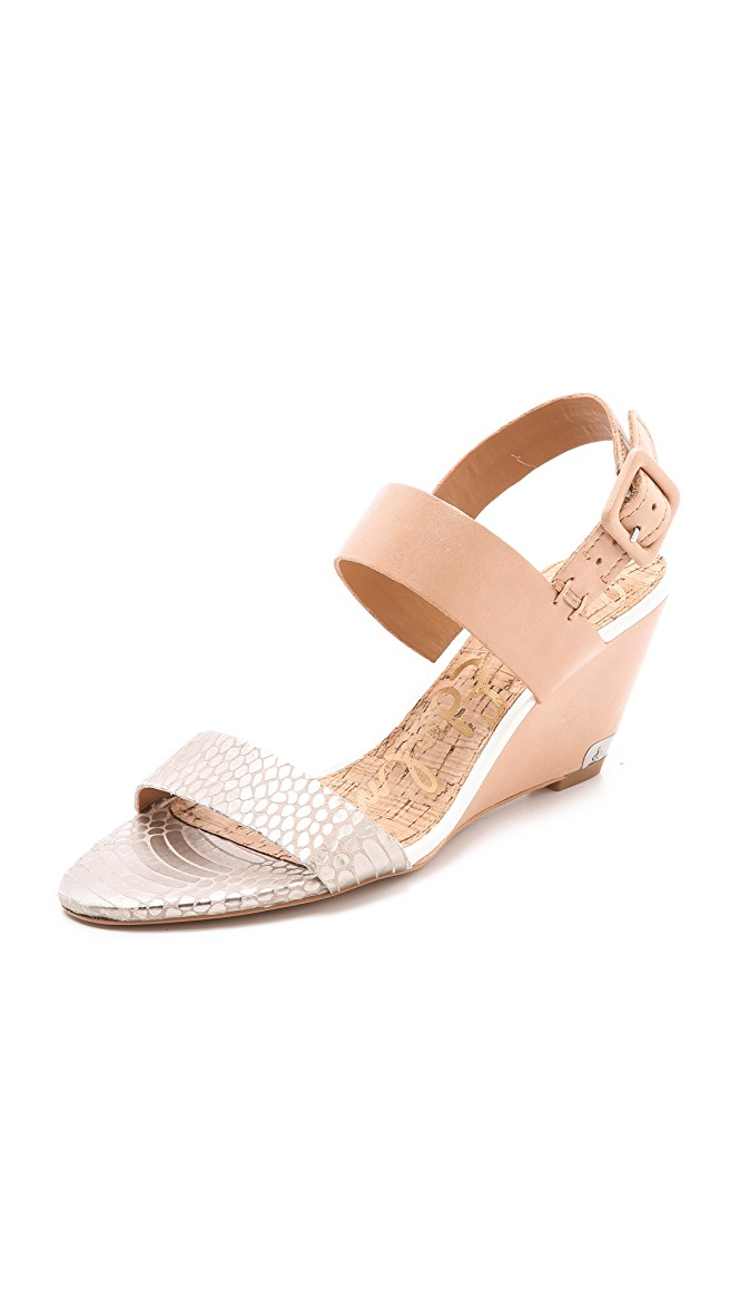 "Sam Edelman Sutton Sandal Wedge, Nude, Size: 6.5, like new, gently worn with box. Orig. rtl: $125<br /> <br /> ""Sizing: True to size<br /> - Open toe<br /> - Animal print and solid vamp straps<br /> - Slingback strap with adjustable buckle closure<br /> - Covered wedge heel with metal cap<br /> - Approx. 3"" heel<br /> - Imported""<br /> <br /> Photo and description credits: Nordstromrack.com"