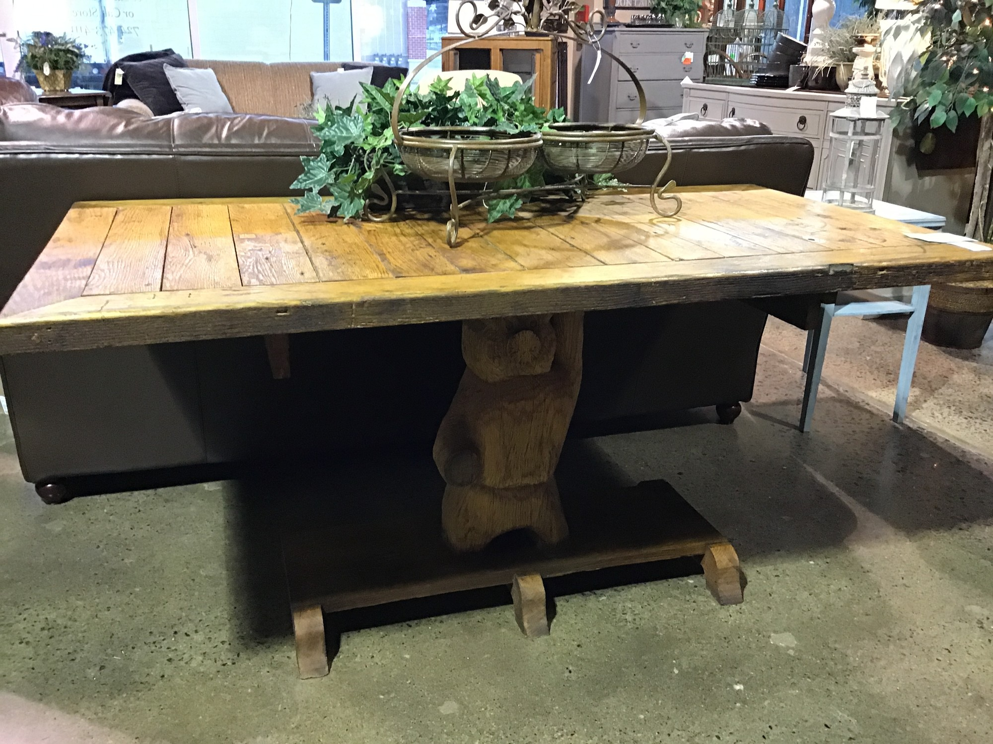 "This table is just really cool! It was hand-made and the base pedestol is a carved pig! It could be used as a dining table for a small area, a console table, a library table or put some wheels on it and it could be a cool kitchen island!<br /> Dimensions are 61"" x 32"" x 30"""