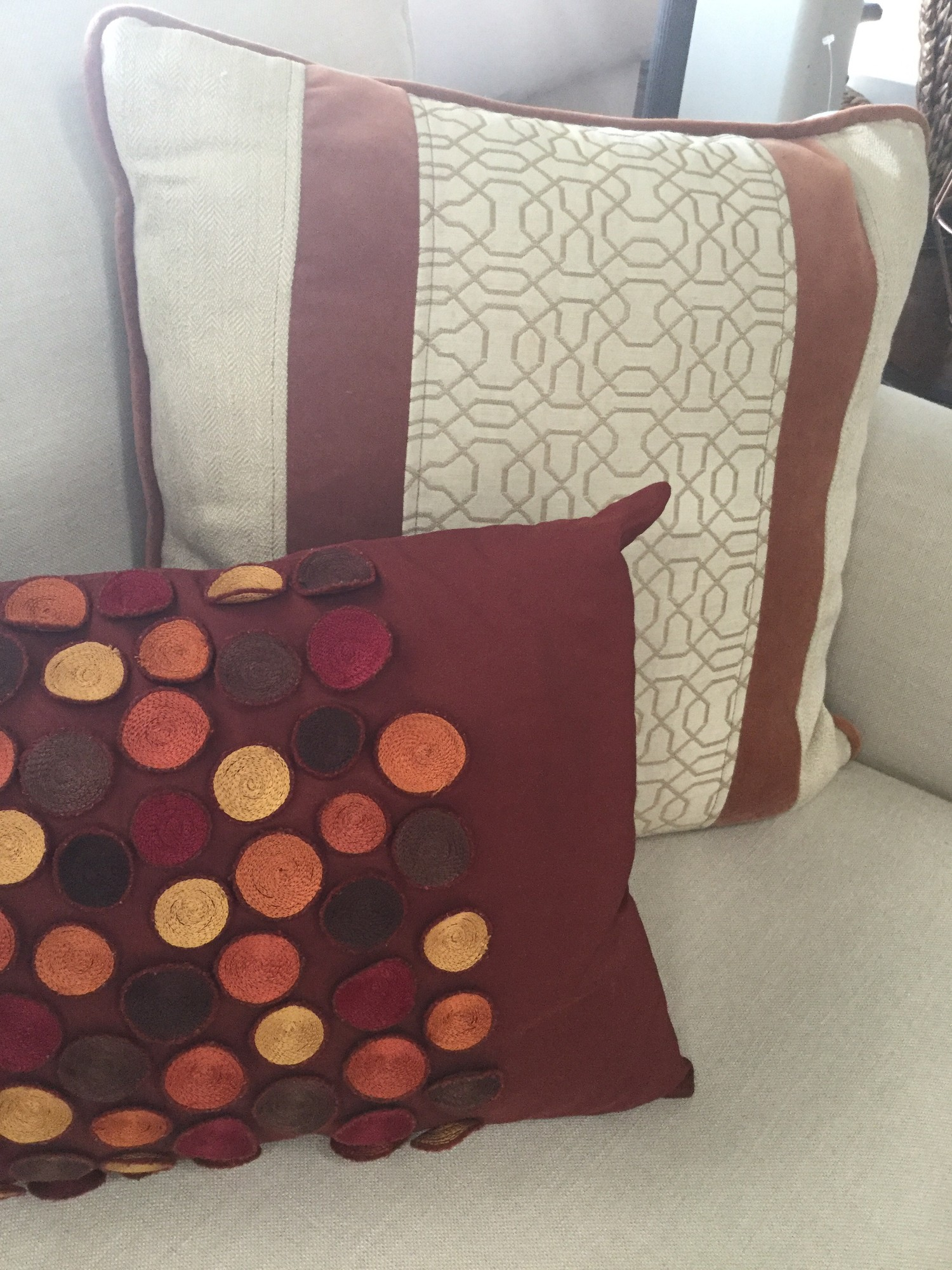 "Rust & Tan Accent Pillow, Down, Size: 20""X20"""
