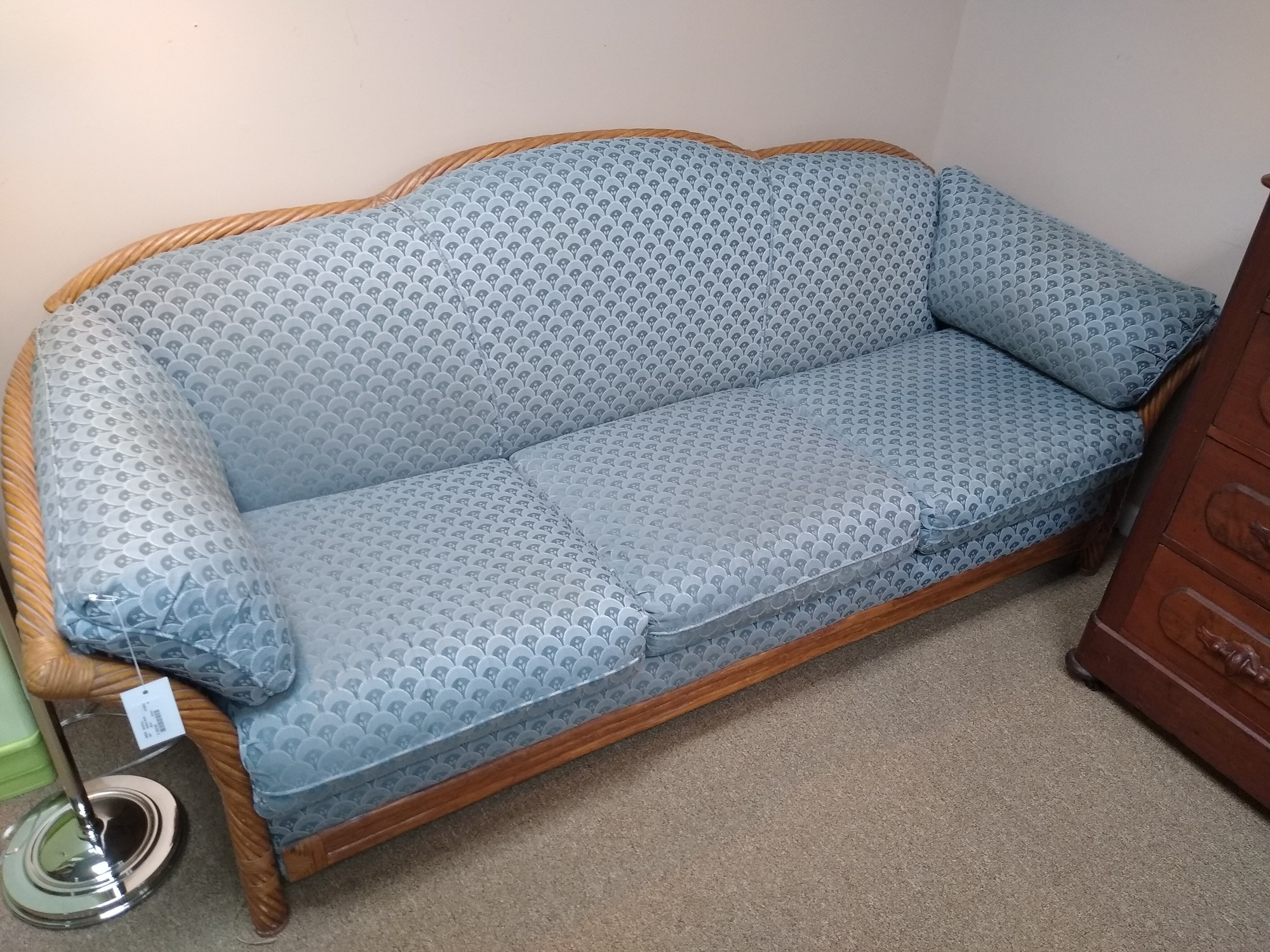 Rattan Sofa, Blue, Size: None