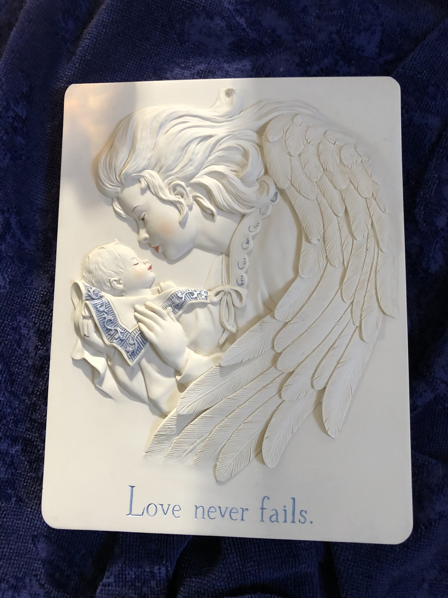 Love Never Fails Wall Plaque<br /> Beige/ Blue