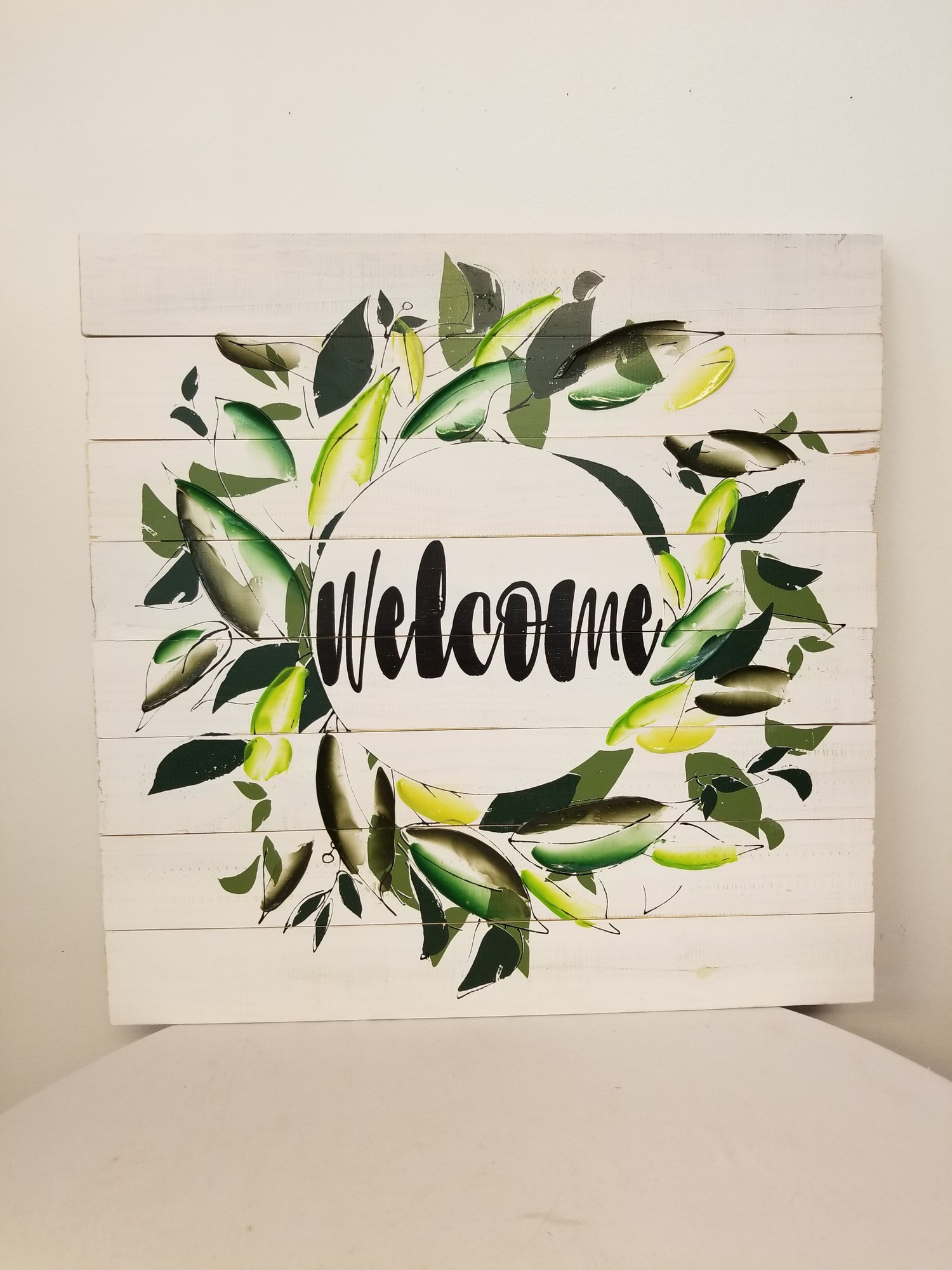 Welcome Sign, White/Green, Size: 24x24