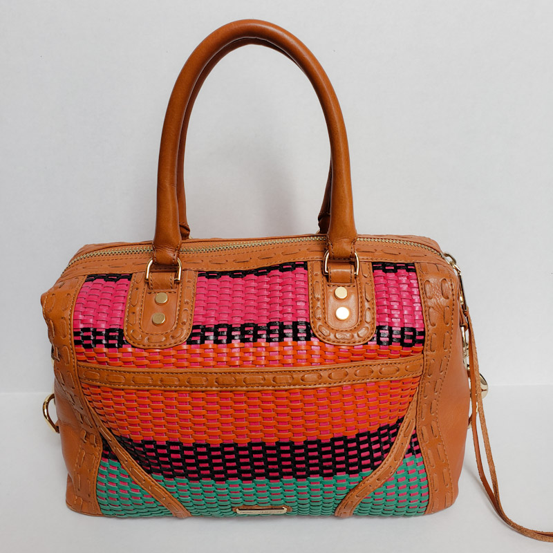 Rebecca Minkoff<br /> Medium sized shoulder bag<br /> Woven leather detailing<br /> Long Strap and dustbag included