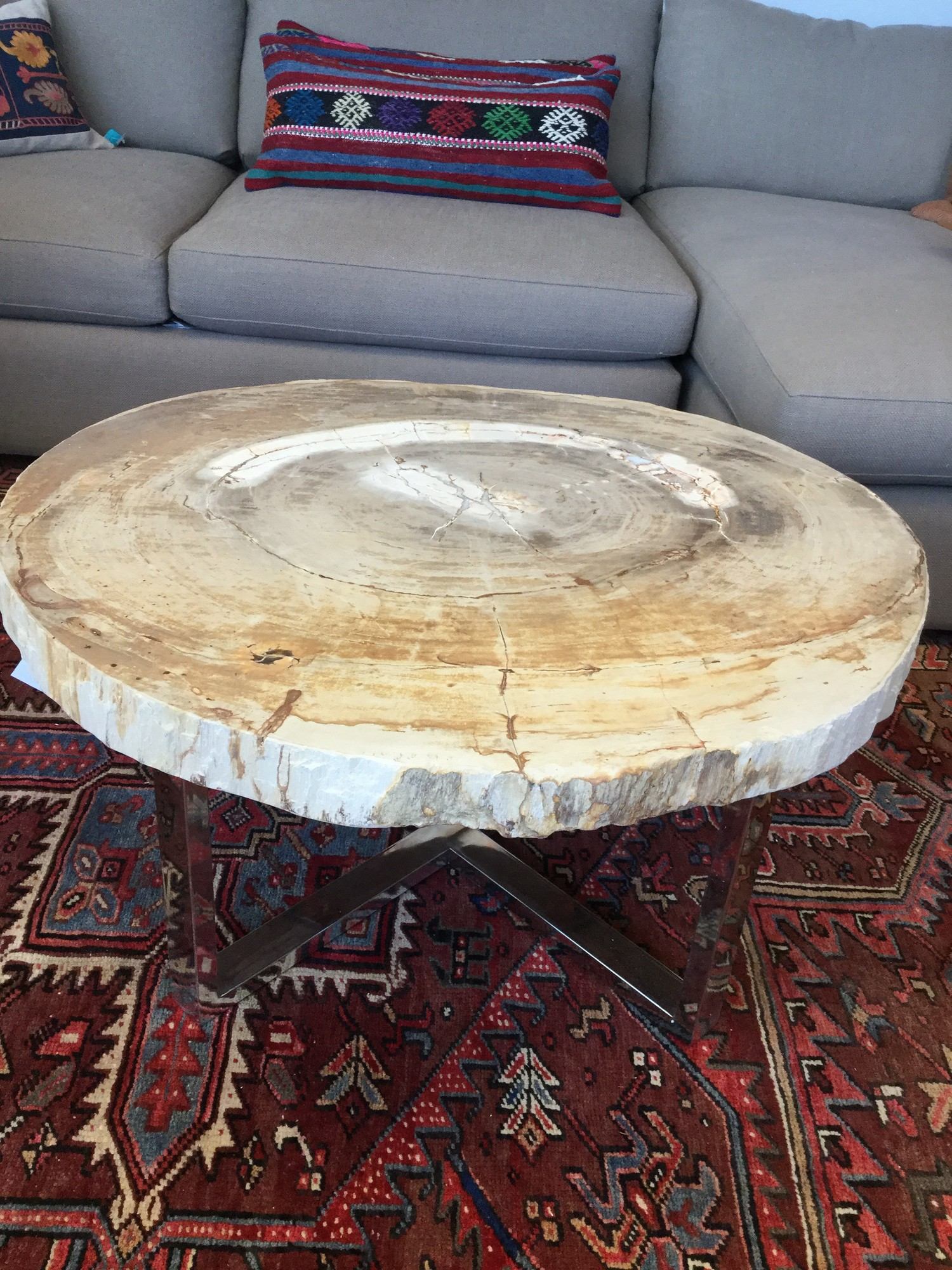 "Petrified Wood Coffee Table, Silver Metal Base, Brand New, Size: 36""x18"""