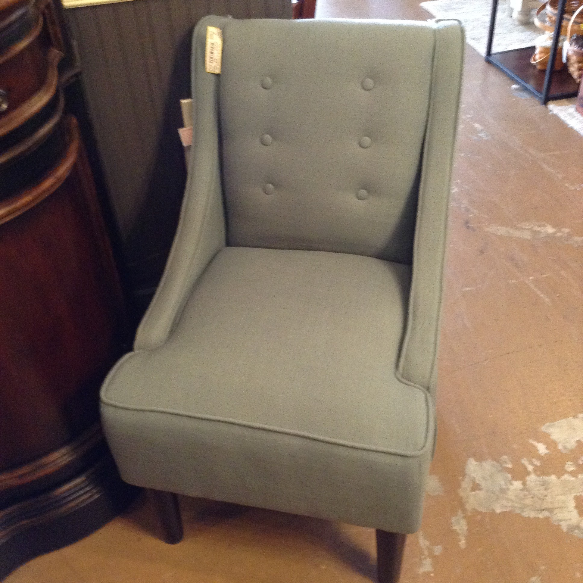 "Teal Button Back Chair 34.5"" tall back, 22"" W x 19"" Seat Height"