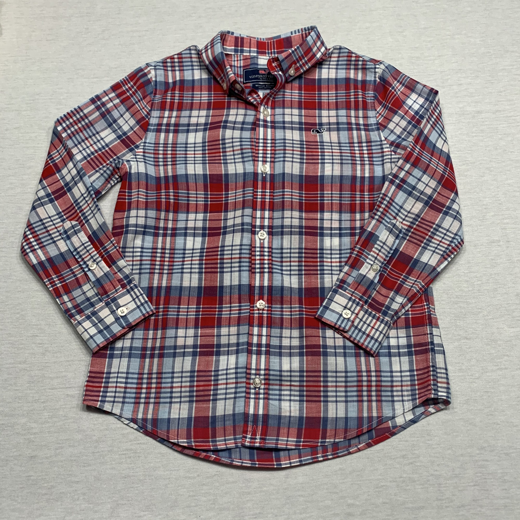 Madras plaid shirt with button down collar
