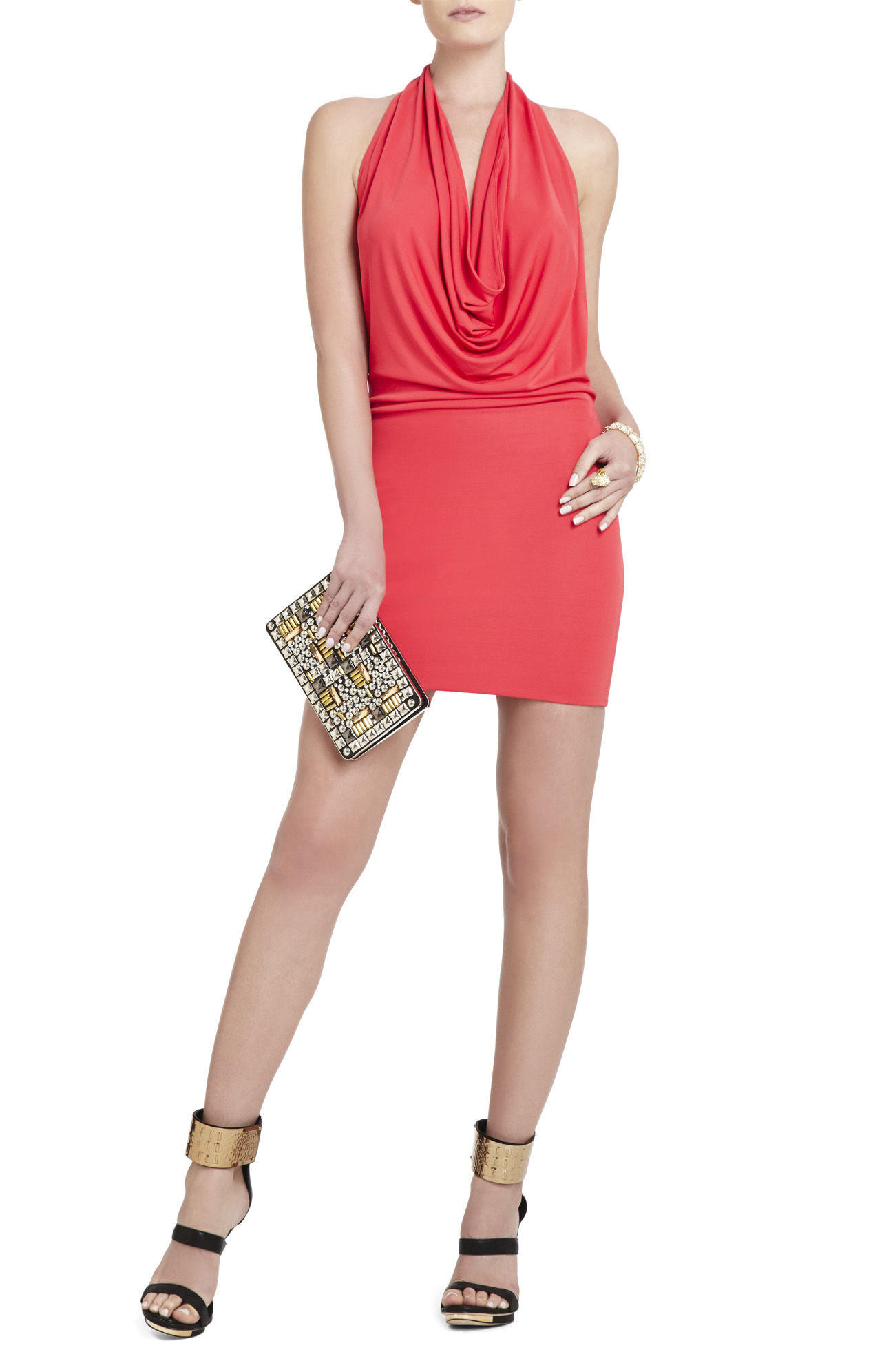 BCBG like new Veda Low-Back Cowl-Neck Dress in small red berry  Orig. rtl: $198<br /> <br /> A simple, slinky little number that will quickly become your go-to for fun evenings out.<br /> <br />     Cowl-neck. Sleeveless.<br />     Halter neck. Low-back. Fitted skirt.<br />     Rayon, Polyester.<br />     Machine Wash.<br /> <br /> Photo and description credits: BCBG.com
