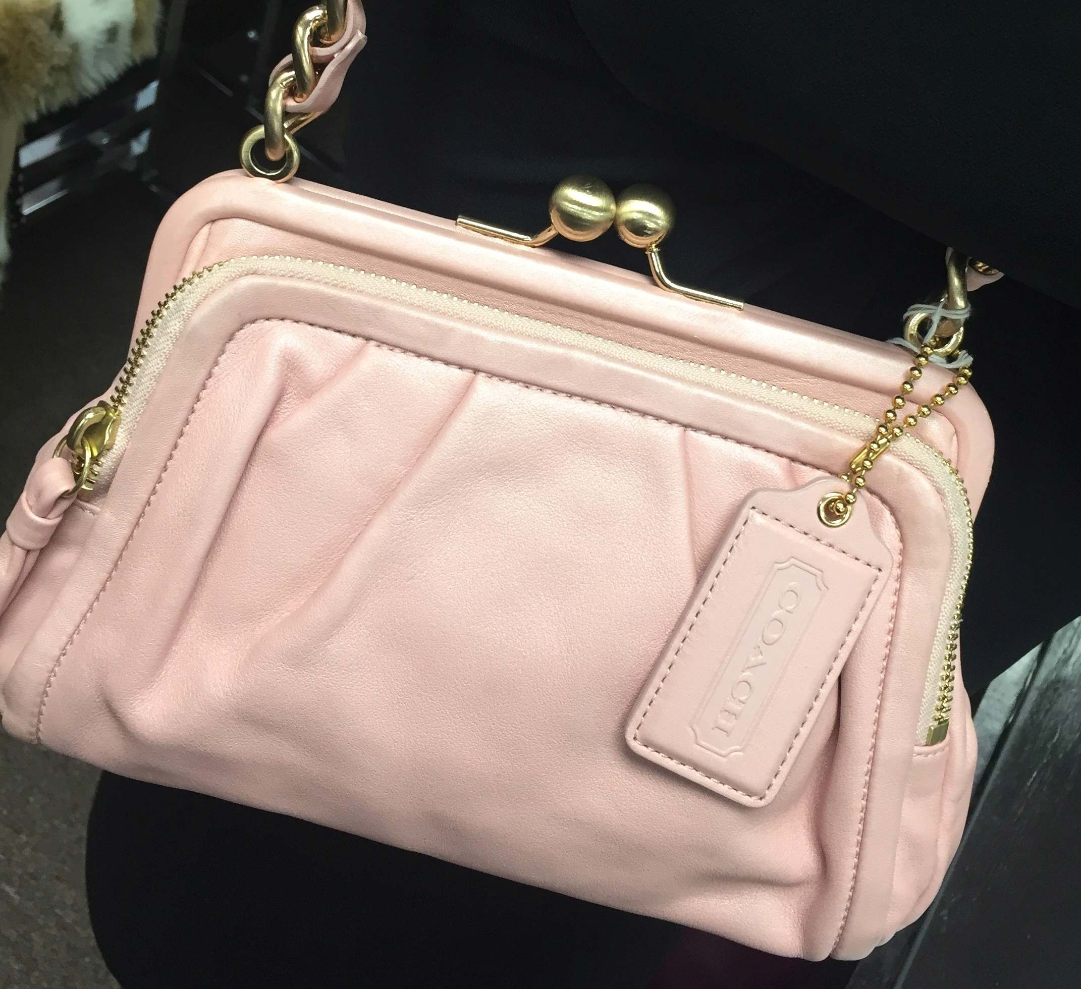 Coach Pink Handbag multi-zipper pockets with Gold chain strap