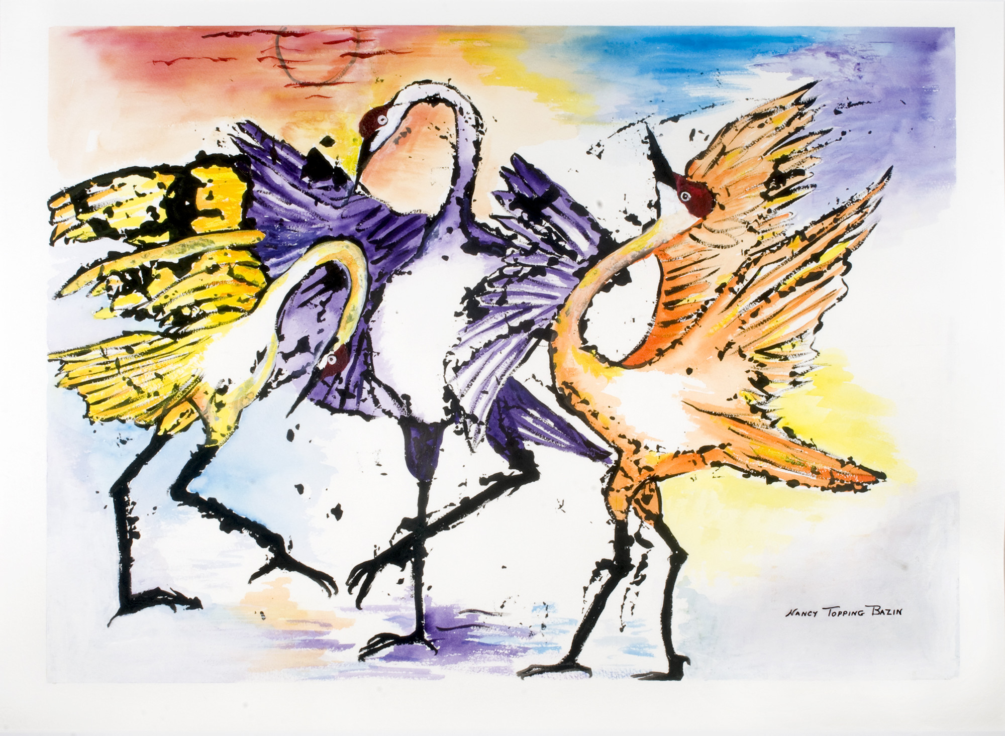 "Title: Dancing Cranes Artist: Nancy Topping Bazin, Medium: Watercolor and Black Gesso, Size: 28""H x 36""W Framed, Statement: Cranes are monogamous and faithfully dance each year for their chosen mates.  They perform, moreover, with great skill."