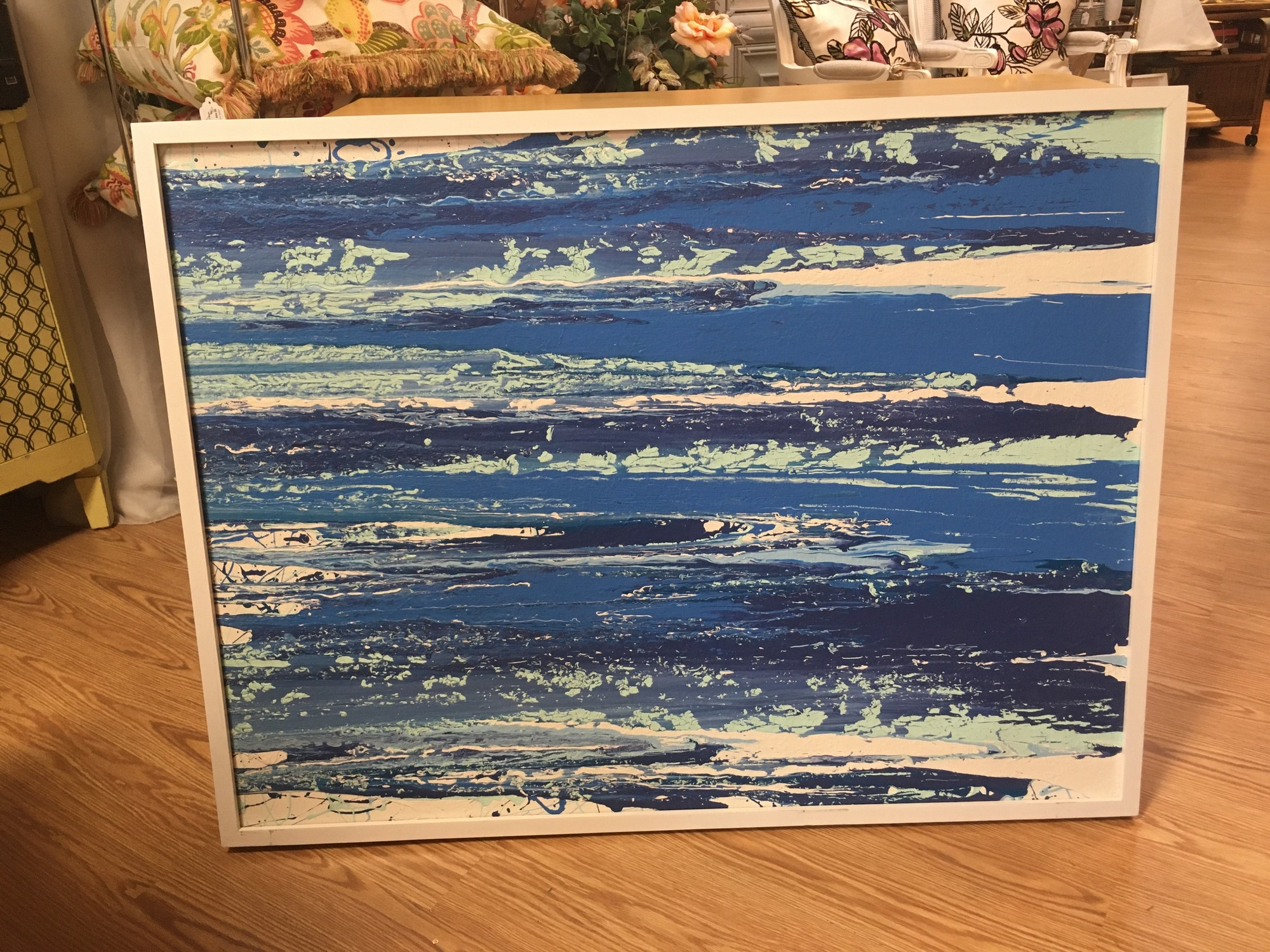 Item # 1910<br /> Original Blue Waves Painting,<br /> Color : Blues and white<br /> Size: 31.5 X 41.<br /> Price : 229.00