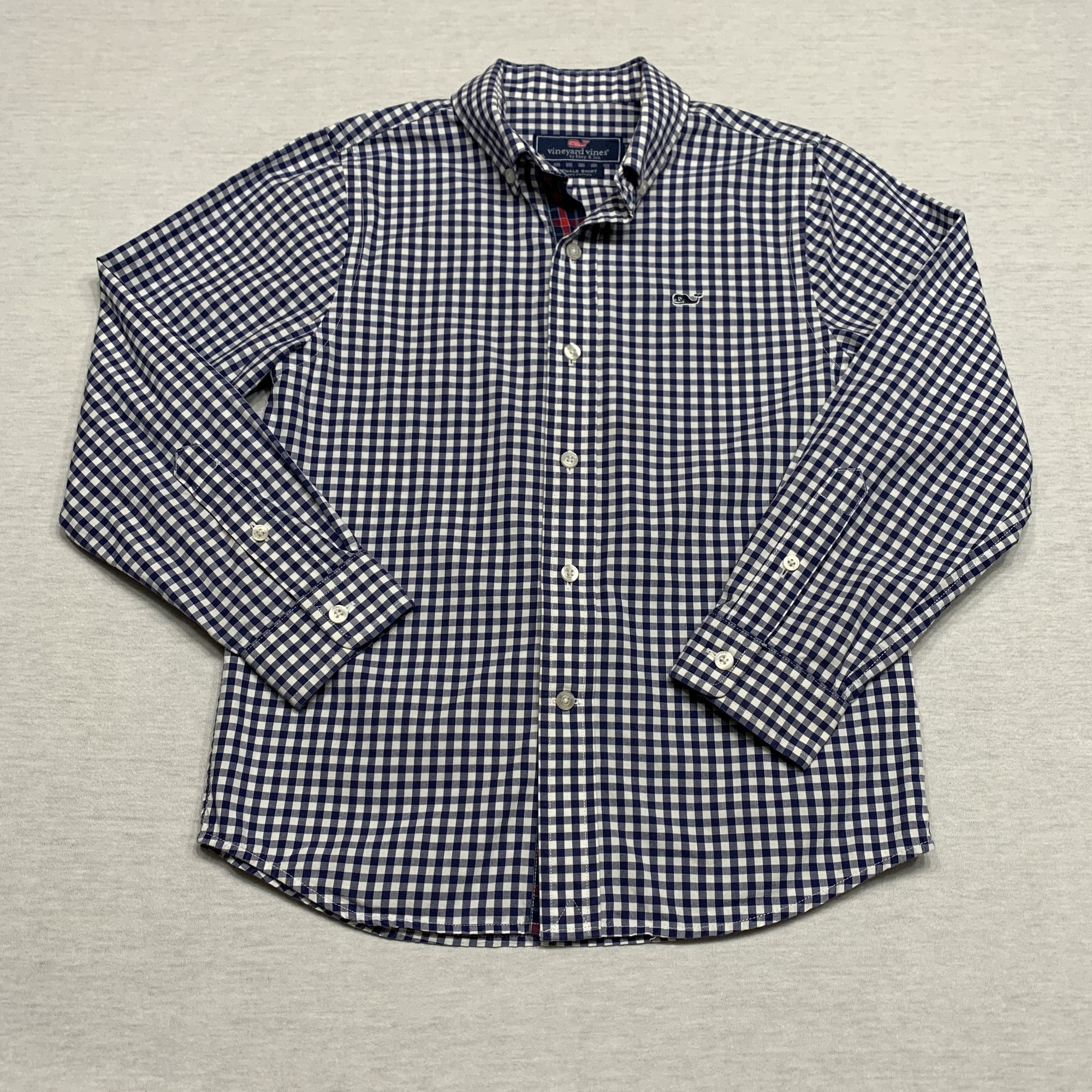 Checked poplin shirt with button-down collar