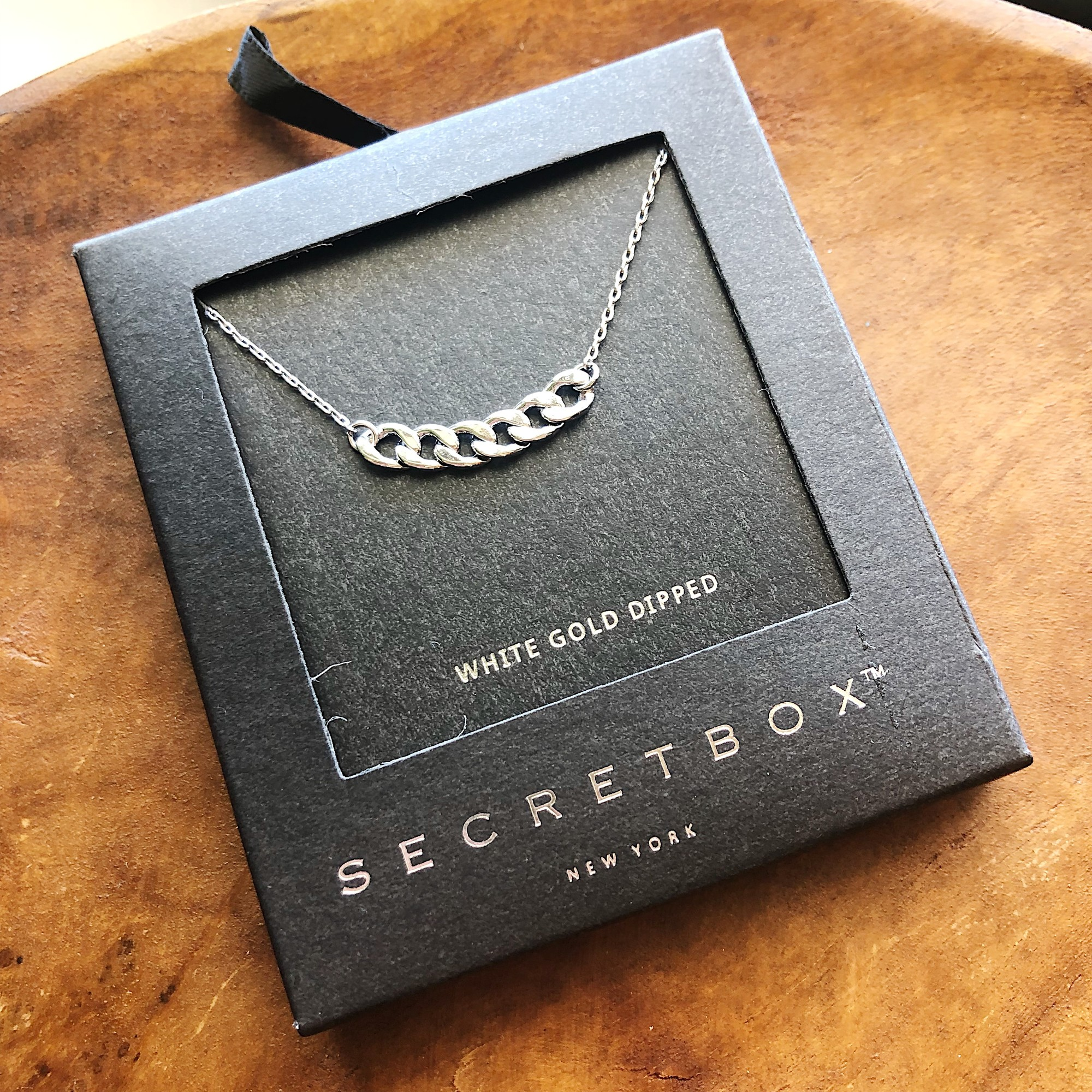 Secretbox Chain, Silver, White Gold Dipped
