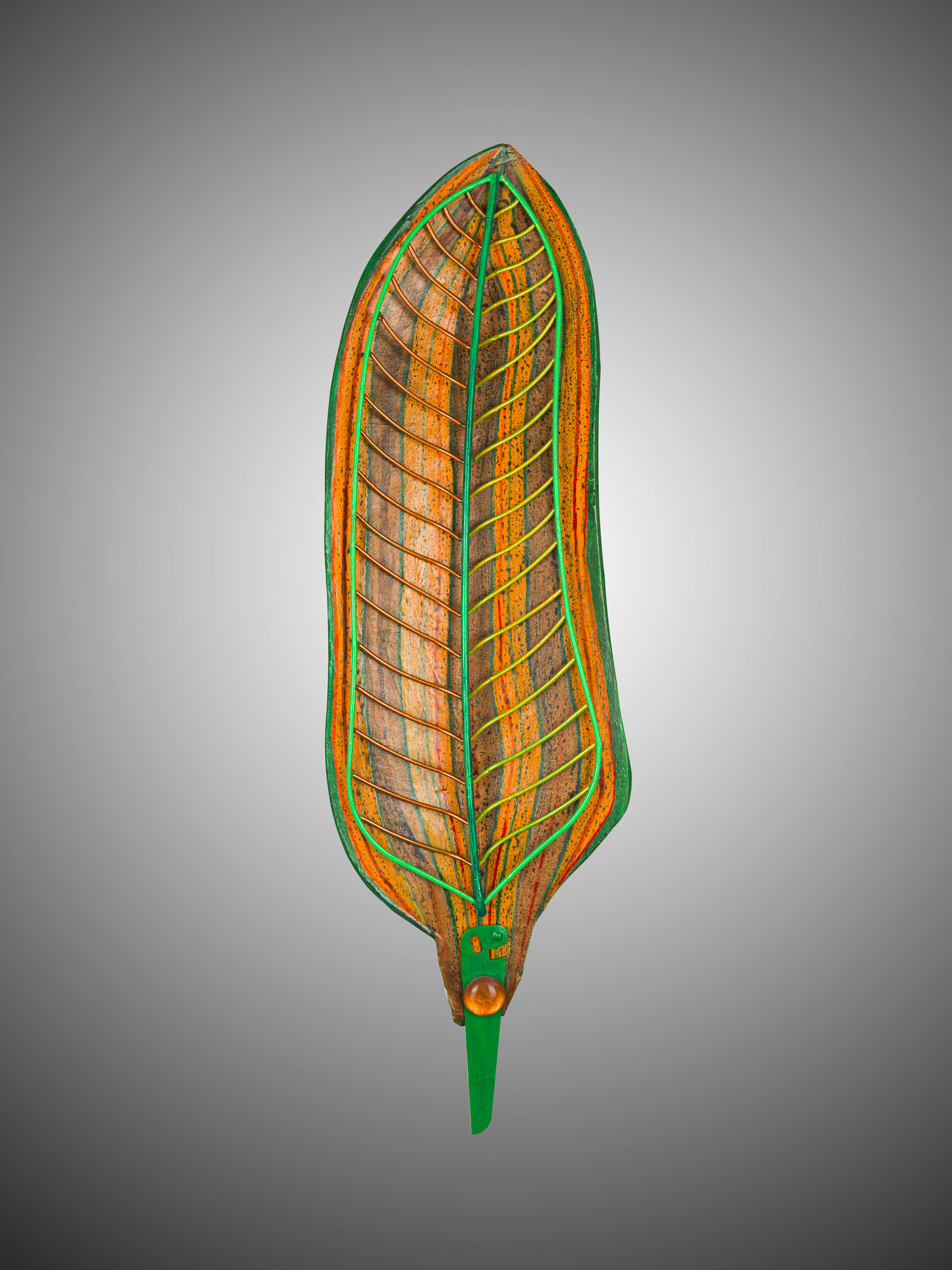 "Title: Willow Leaf<br /> Artist: Barbara Kobylinska<br /> Medium: clay, recycled metal and found objects<br /> Size: 18""H x 7""W x 2""D<br /> Description:"